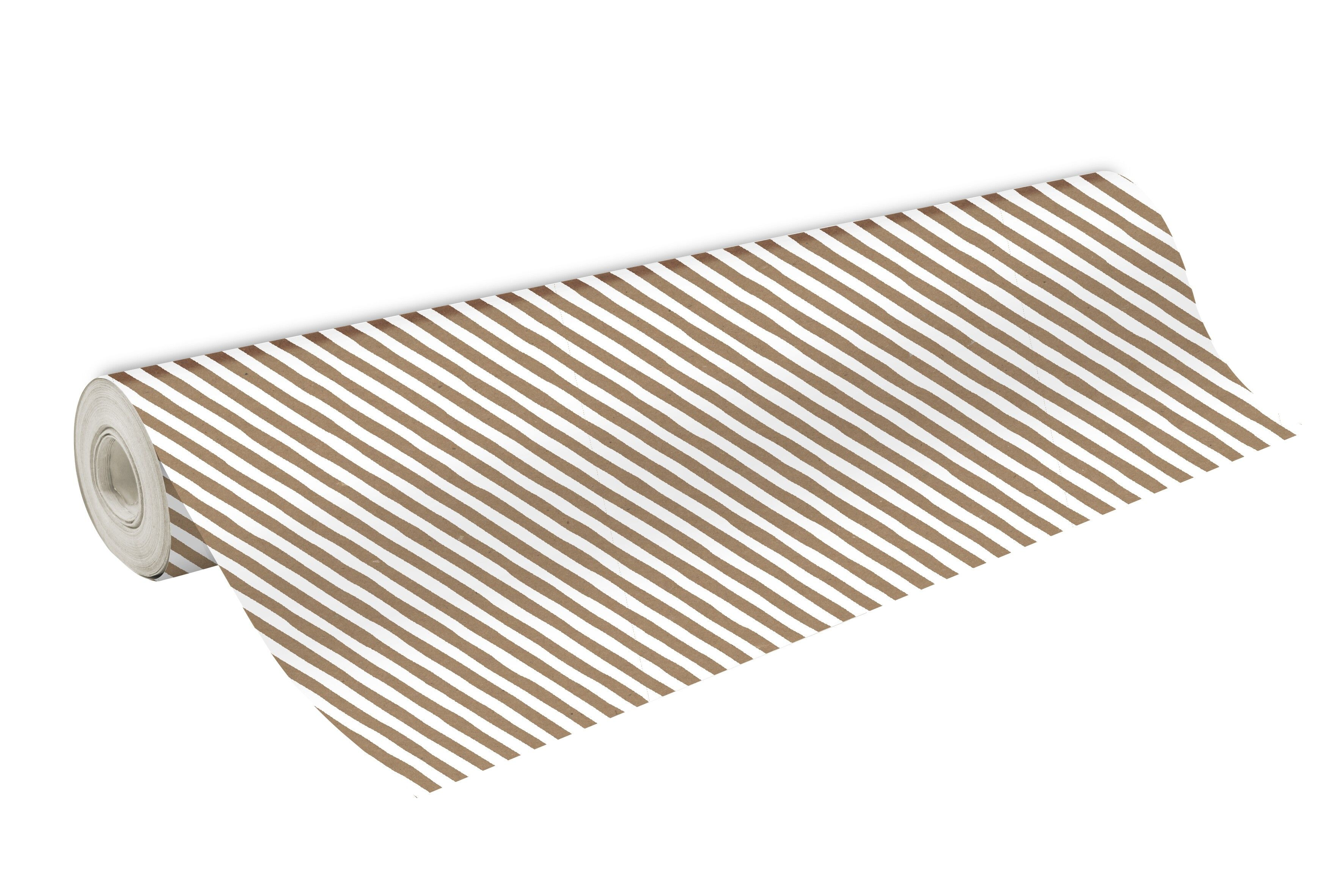 Clairefontaine - Papier cadeau kraft - 70 cm x 50 m - 70 g/m² - motif rayures blanches