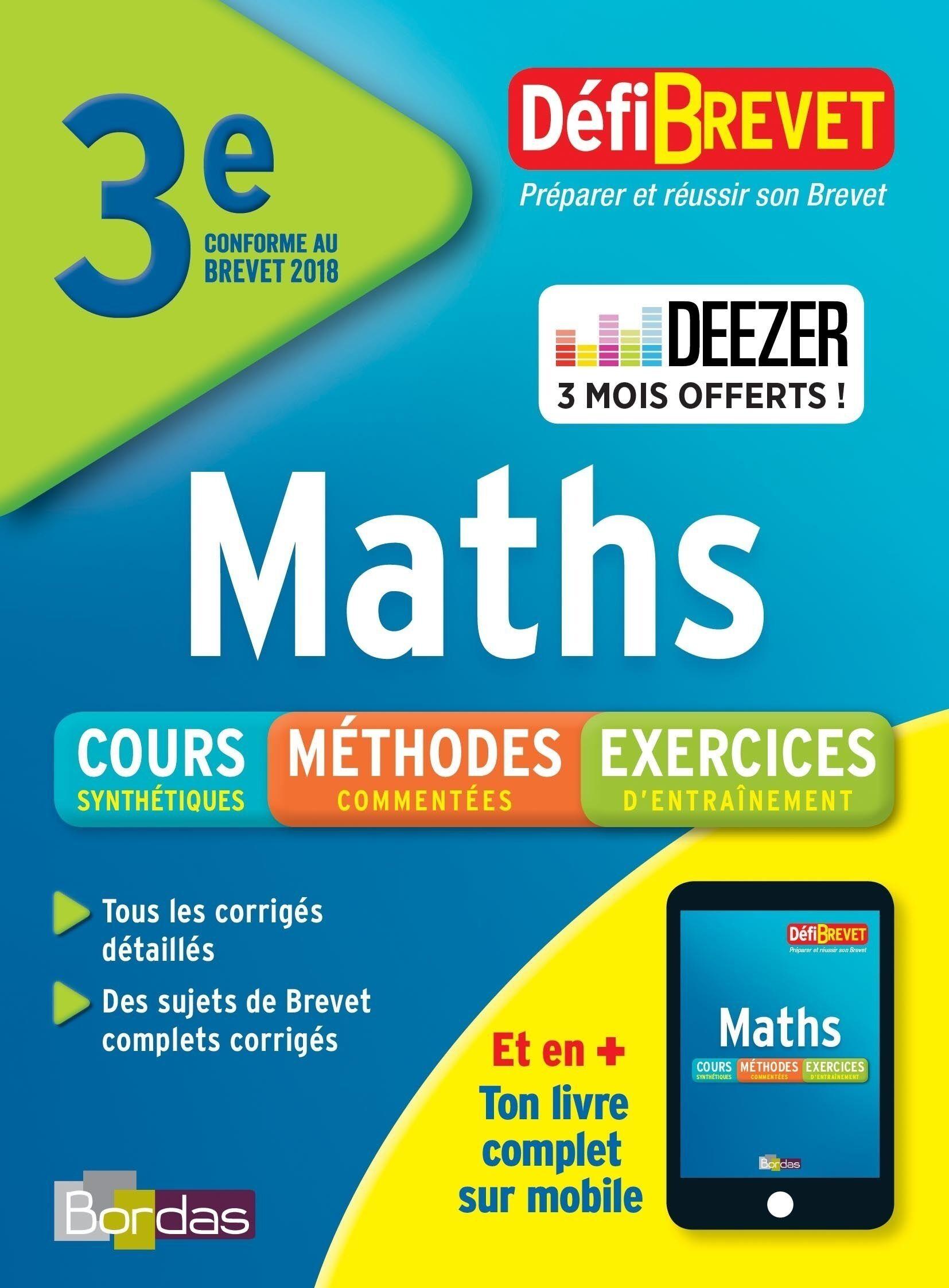 Défibrevet Cours/méthodes/exos Maths 3e