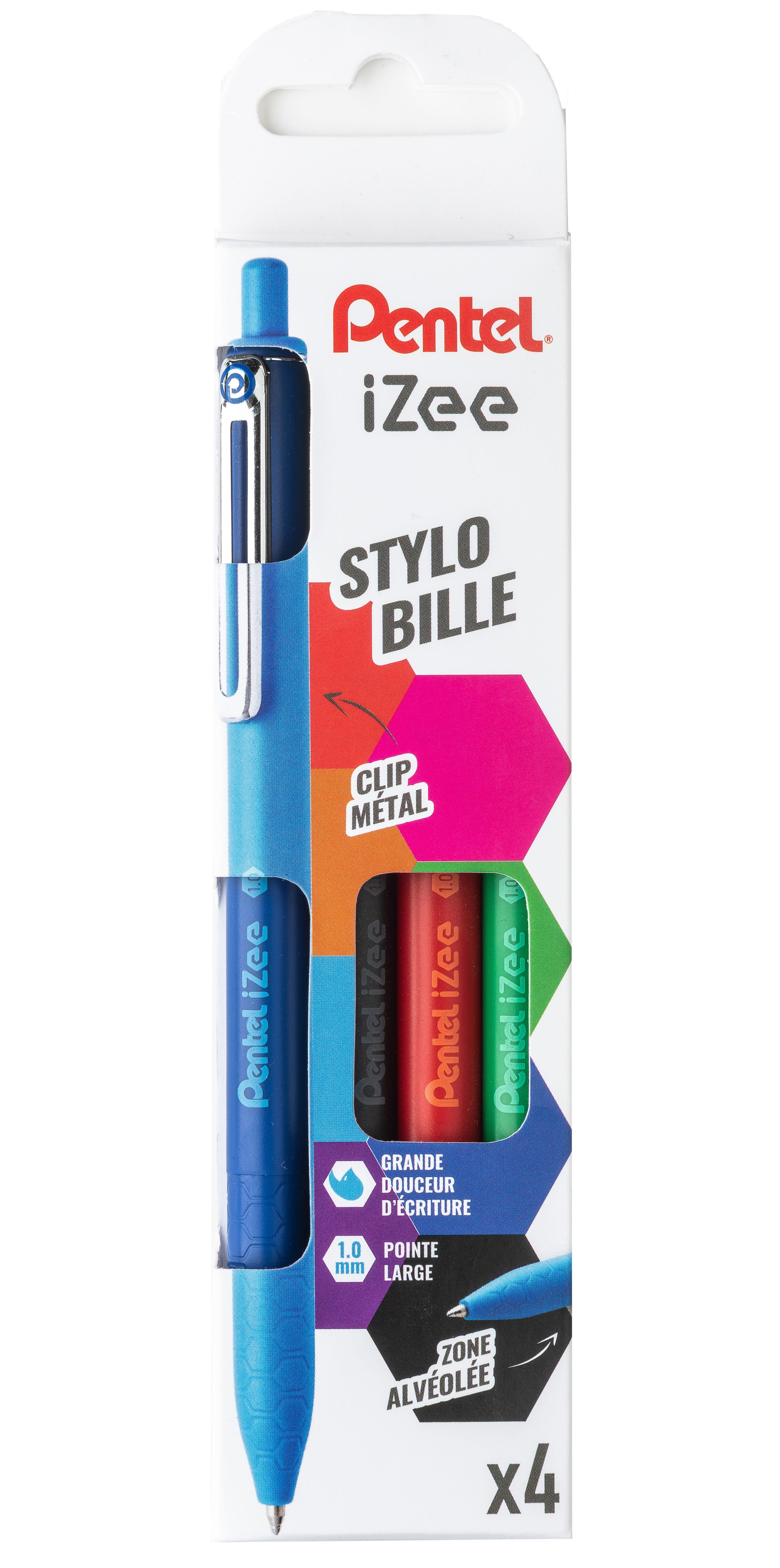 Pentel iZee - Pack de 4 stylos à bille rétractables - 1mm - moyen - noir, bleu, rouge et vert