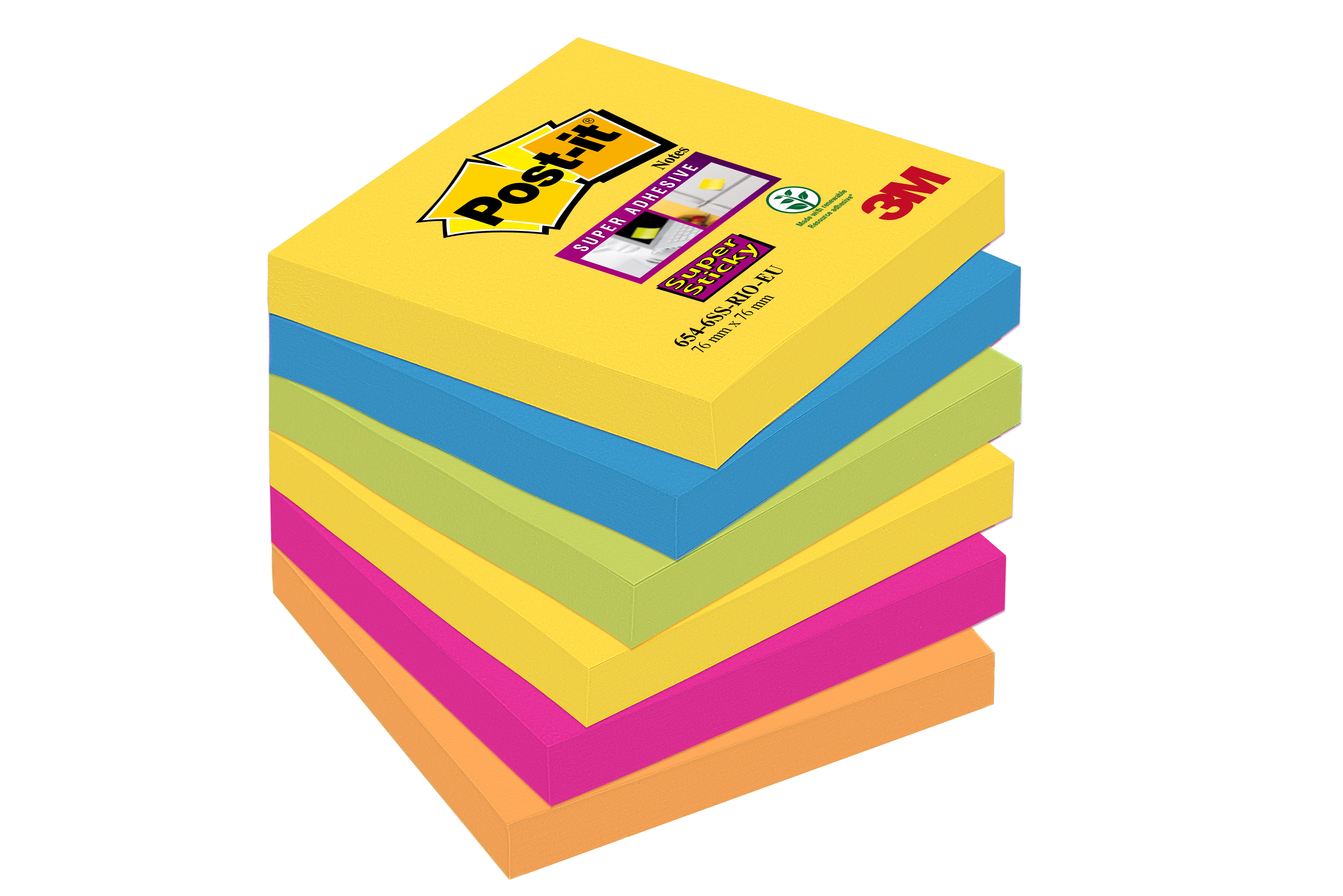Post-it - 6 Blocs notes Super Sticky Rio - couleurs vives assorties - 76 x 76 mm
