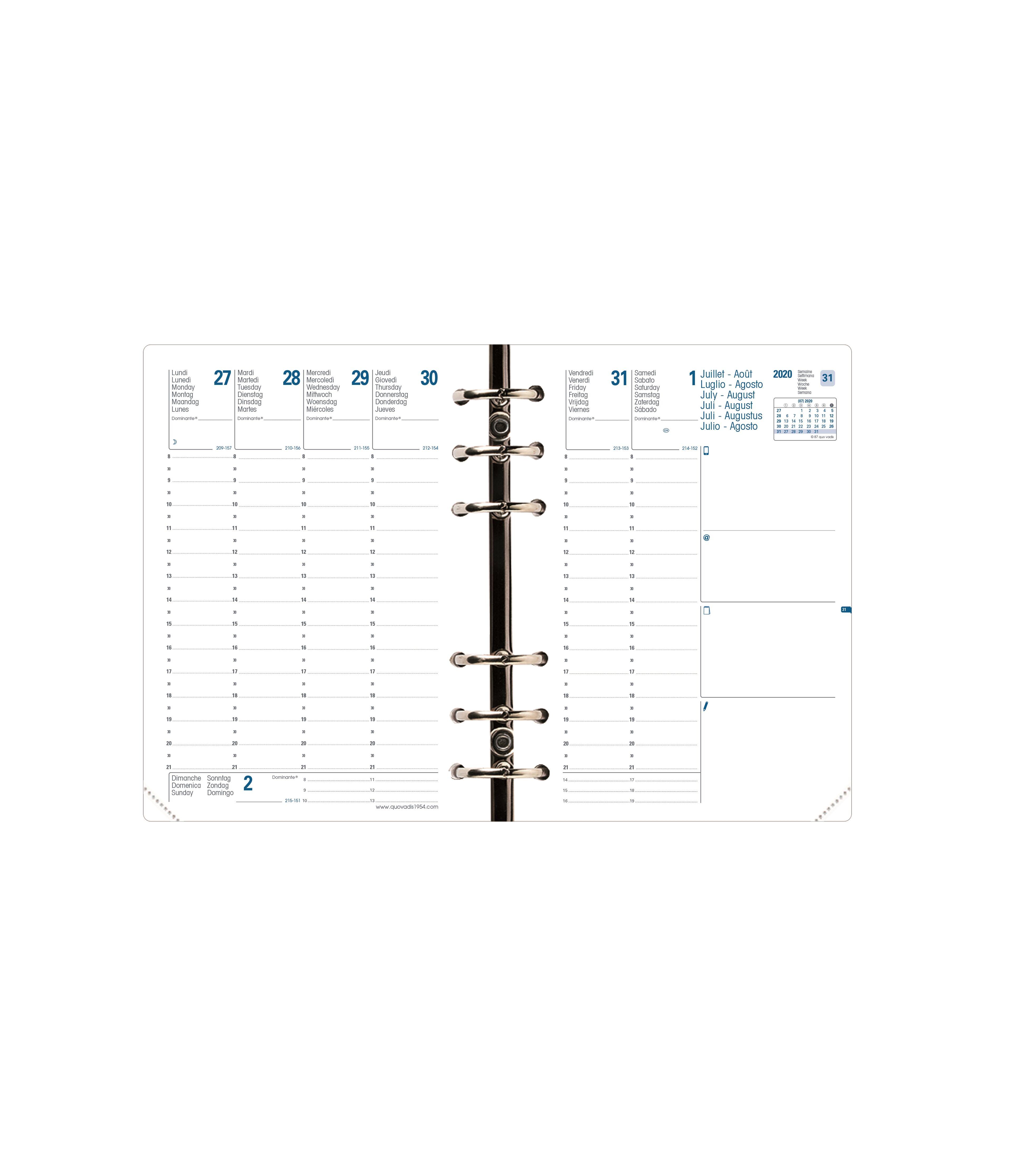 Recharge d'agenda Compactimer - 1 semaine sur 2 pages - 11,5 x 16 cm - Quo Vadis