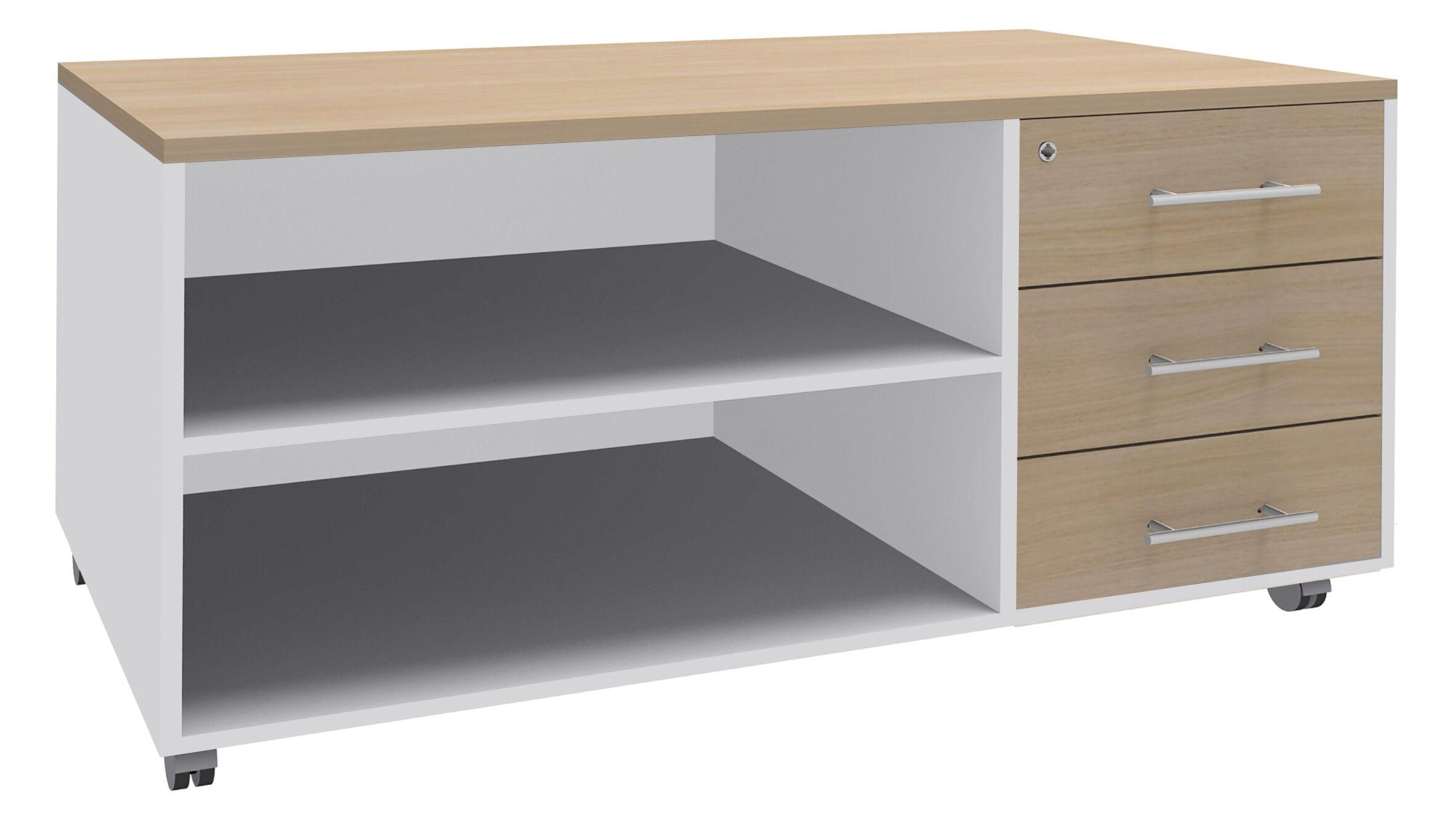 Console mobile WOODY - STEELY/STEELY Manager - L120 x H63 x P60 cm - 3 tiroirs - coté blanc - finition tiroirs et dessus imitation Chêne clair