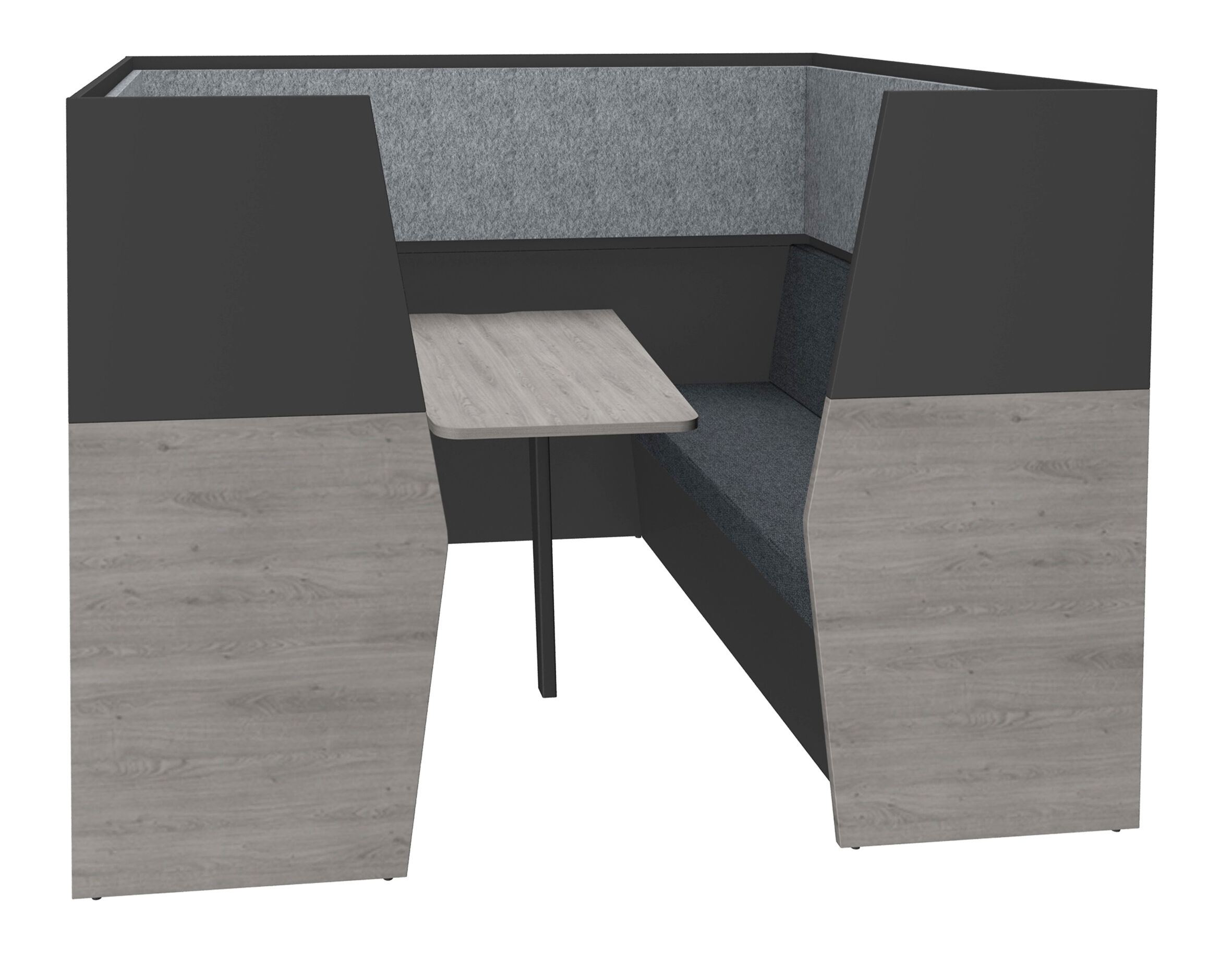 Box acoustique IN'TEAM - L210 x H 150 x P170 cm - 6 places avec table - structure chêne gris et carbone - panneaux gris chiné