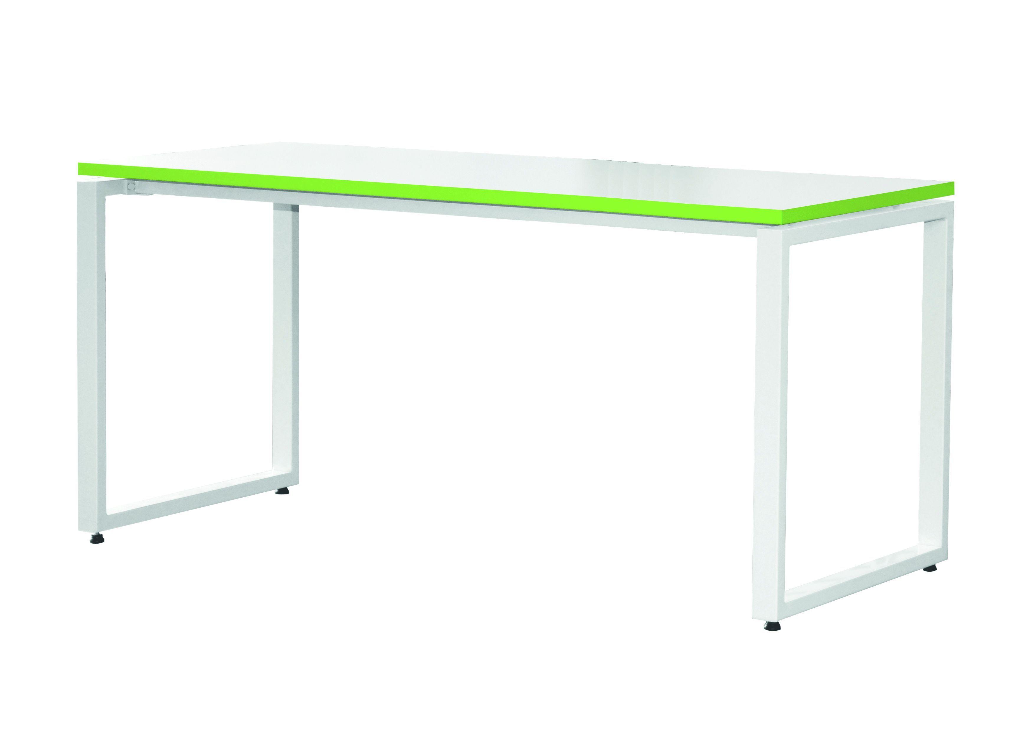 Bureau droit MT1 Elégance - L120 x P67 x H75 cm - pieds blancs - plateau blanc chants vert
