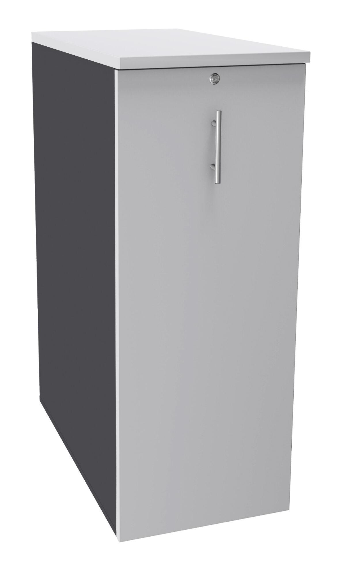 Caisson TOWER - L44 x H114 x P80 cm - 3 tablettes + 1 support DS réglable - structure anthracite - dessus et façade blanc perle