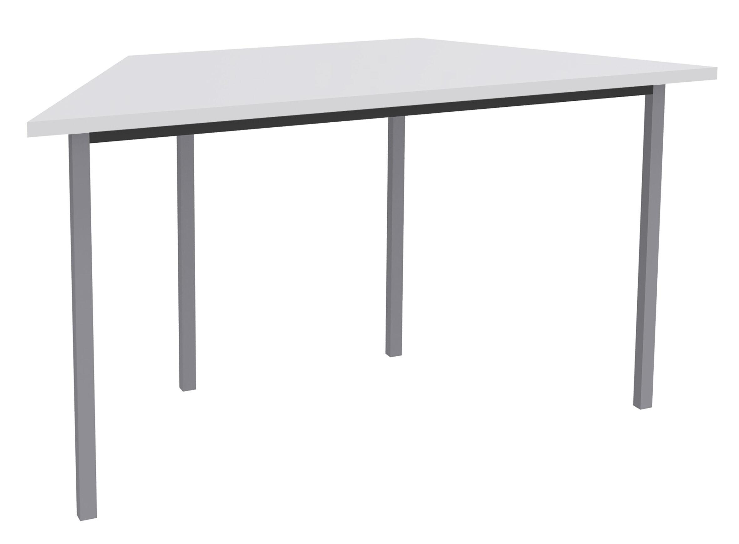 Table de réunion Trapèze - 120 x 60 cm - Pieds aluminium - Blanc perle