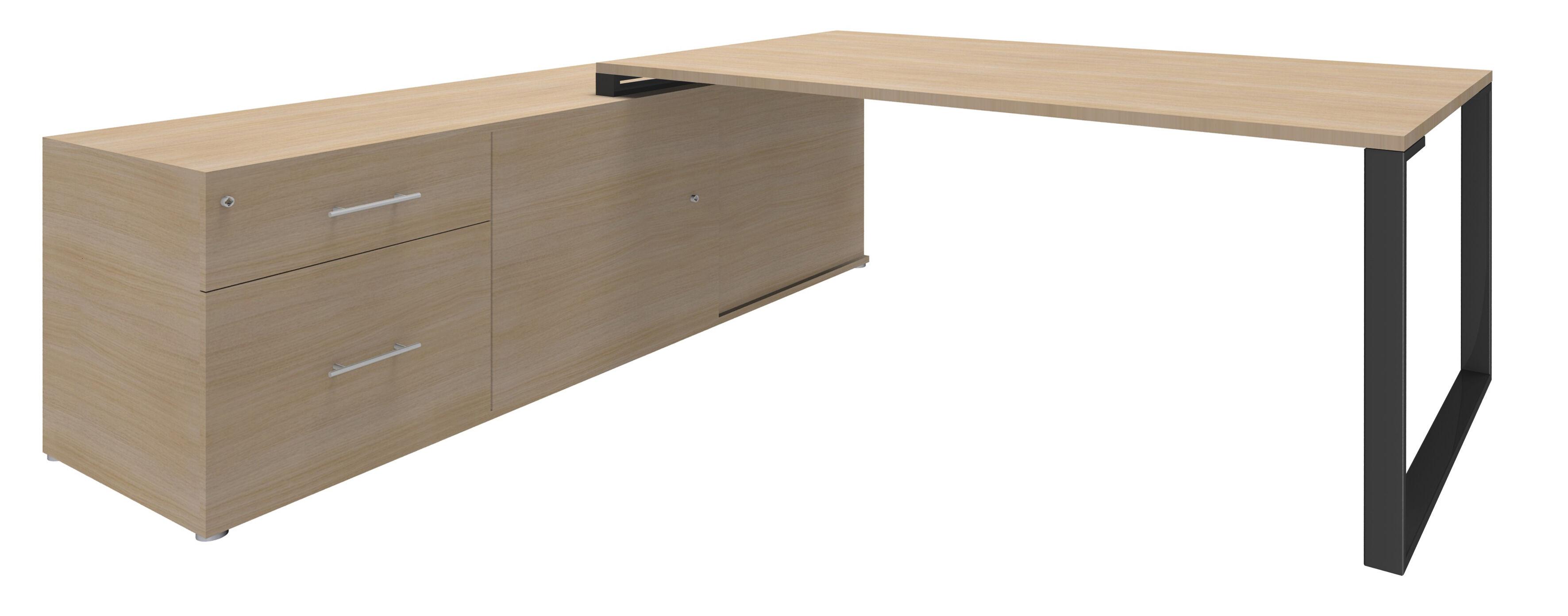Bureau URBAN Manager - L180 x P100 x H72,5 cm - console retour à gauche (tiroirs) L200 x P60 x H72,5 cm - pieds carbone - plateau imitation chêne clair