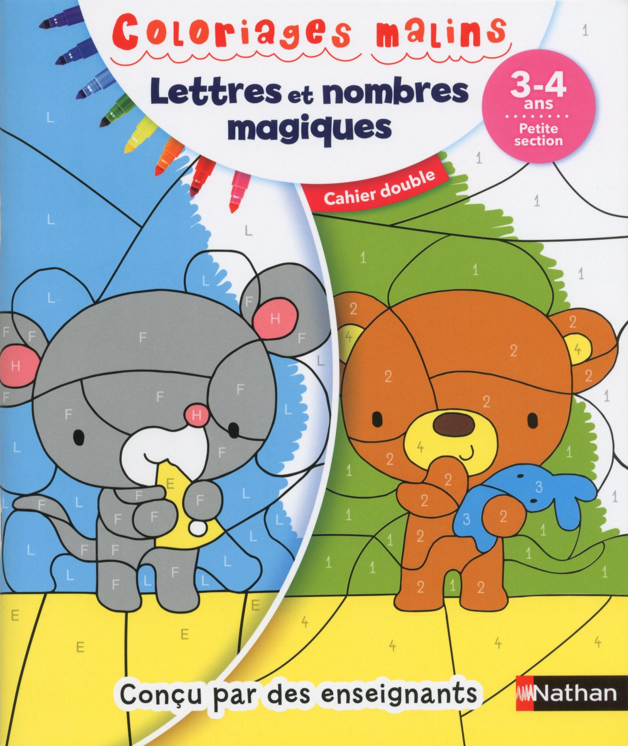 Coloriages malins duo lettres et nombres magiques PS