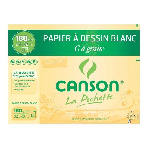 Canson - C à Grain - pochette papier à dessin  - 12 feuilles - 24 x 32 cm - 180G - blanc