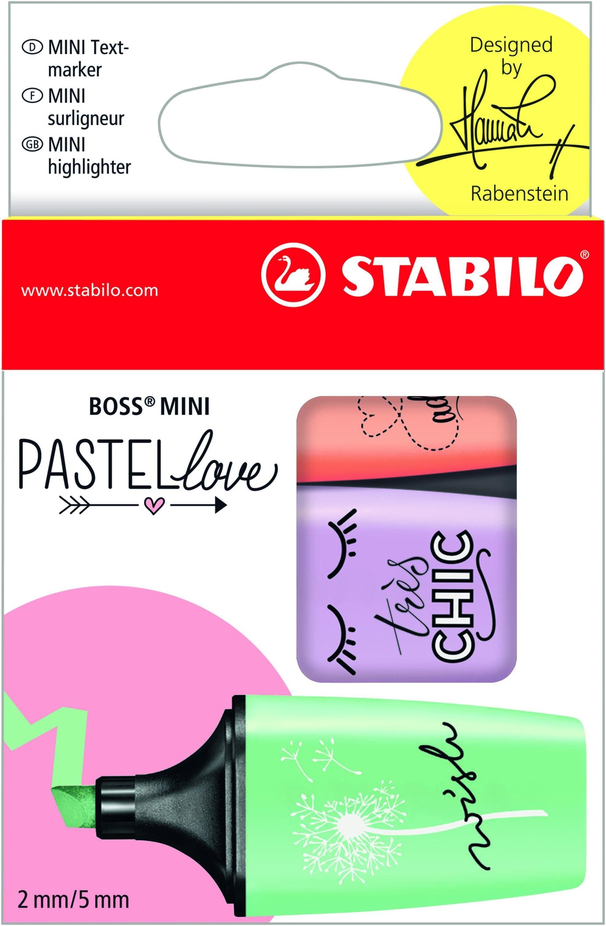 STABILO BOSS MINI Pastellove - Pack de 3 surligneurs pastel - menthe, pêche, lilas