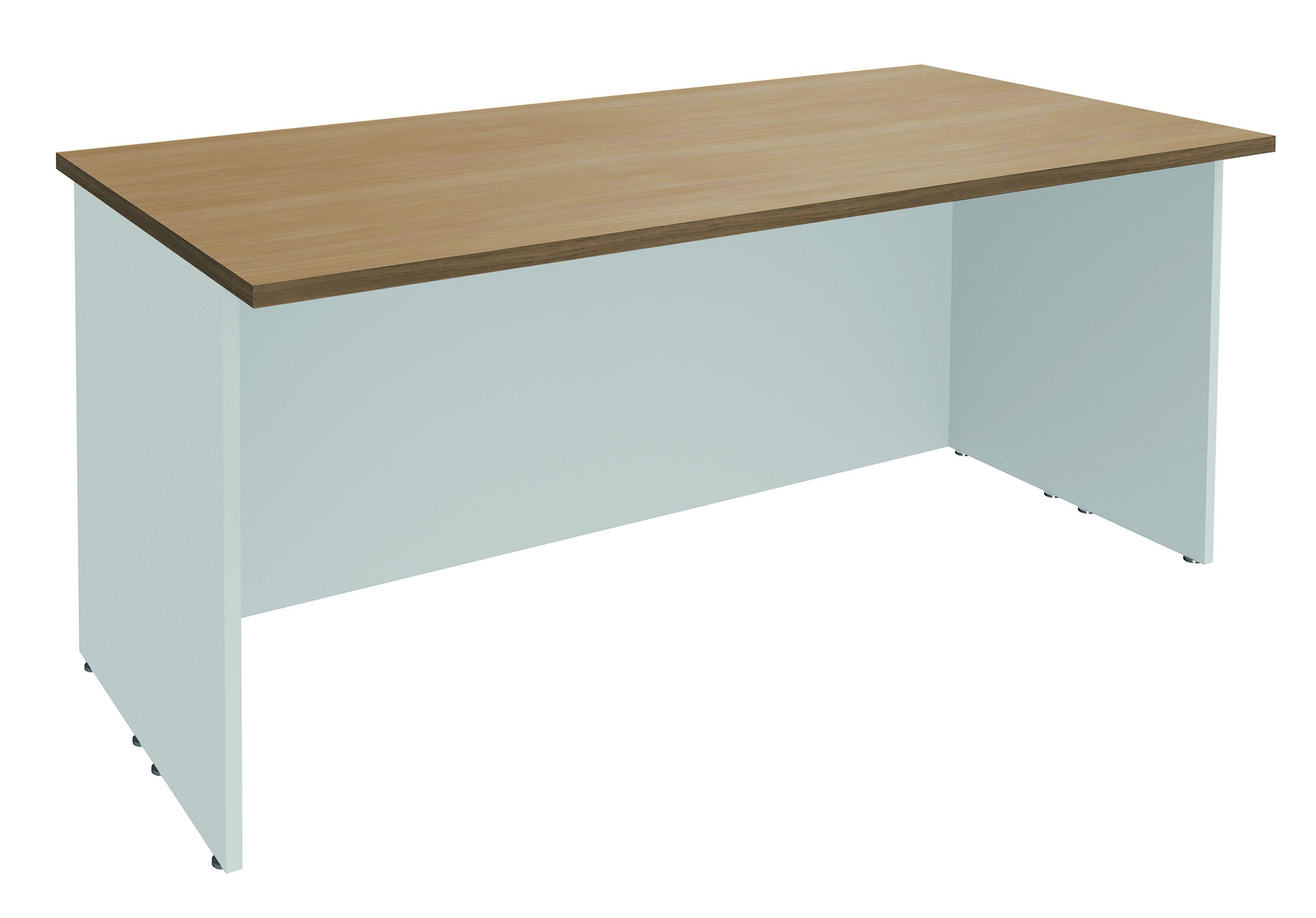 Banque d'accueil LUMINA - sans réhausse - L160 x H75 x P80 cm - Finition chêne clair/blanc