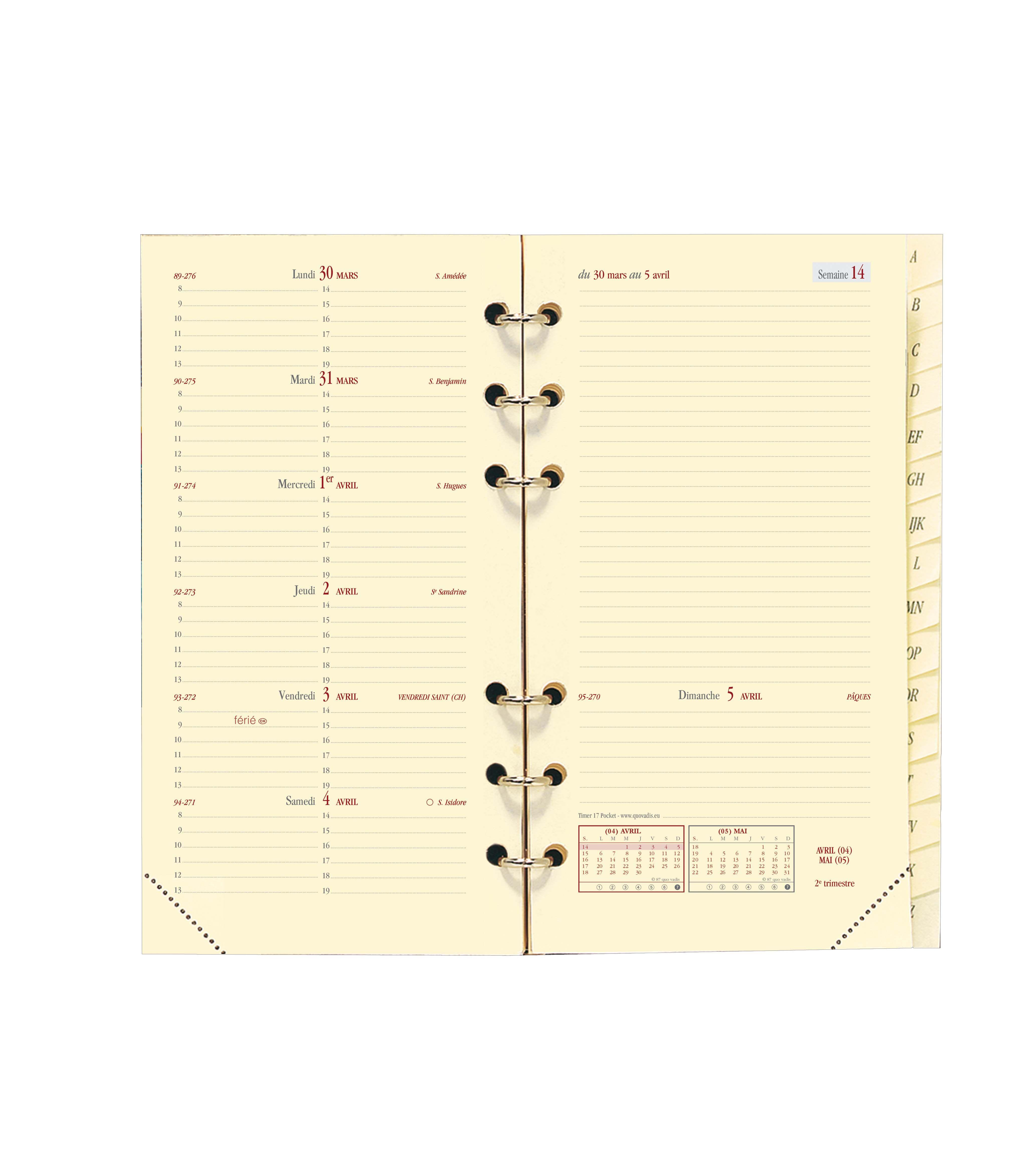 Quo Vadis Timer 17 Pocket - Recharge pour organiseur - 1 semaine sur 2 pages - 9 x 17 cm