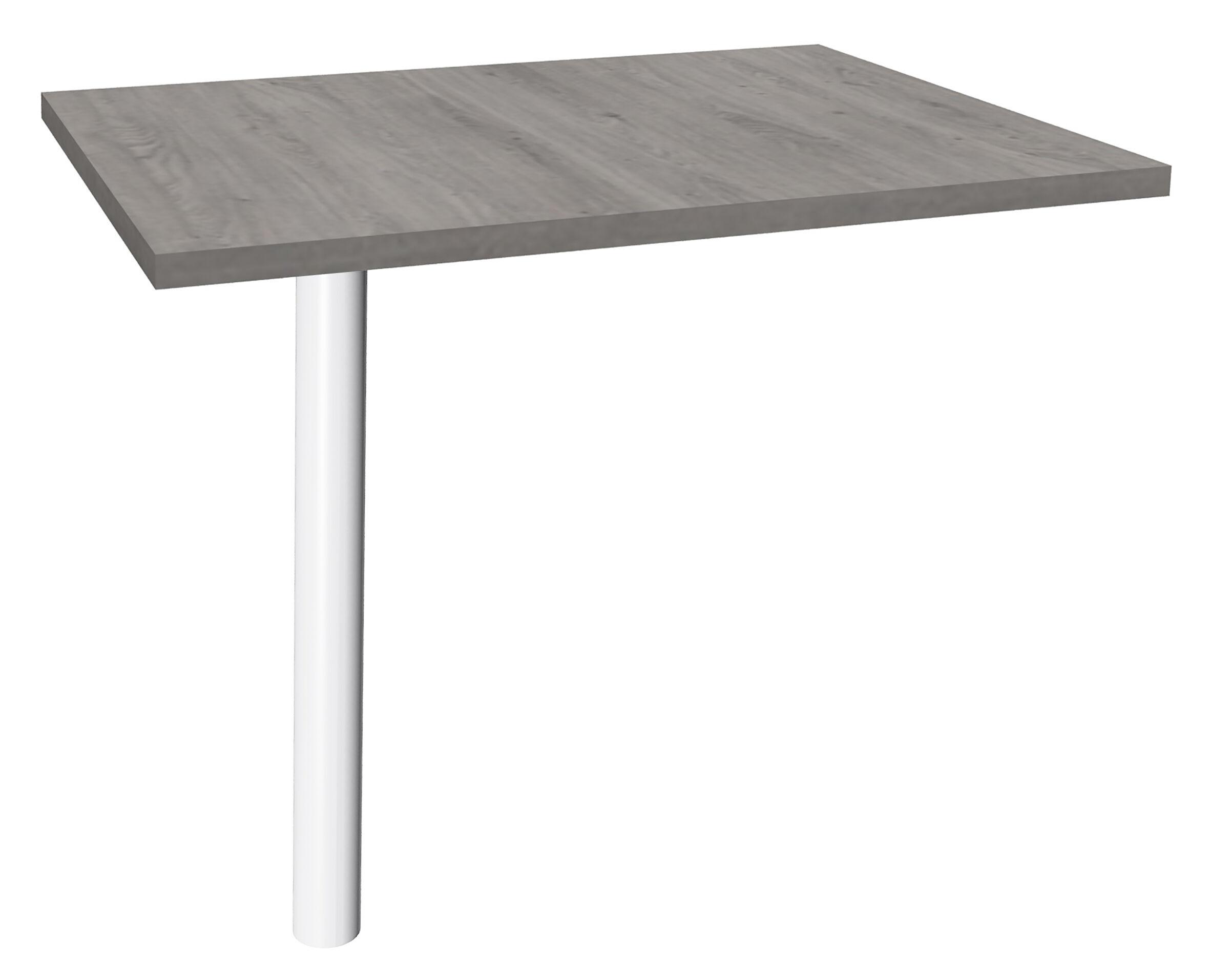 Extension IDRA sur pied tube - 80 x 60 cm - Pied blanc - plateau imitation Chêne gris