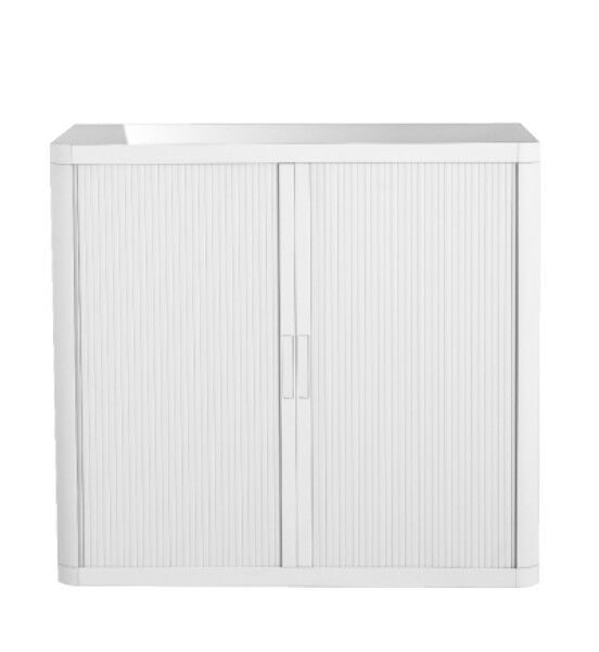 Armoire basse à rideaux EASY OFFICE - 110 x 104 x 41,5 cm - Corps, rideaux et poignée blanc