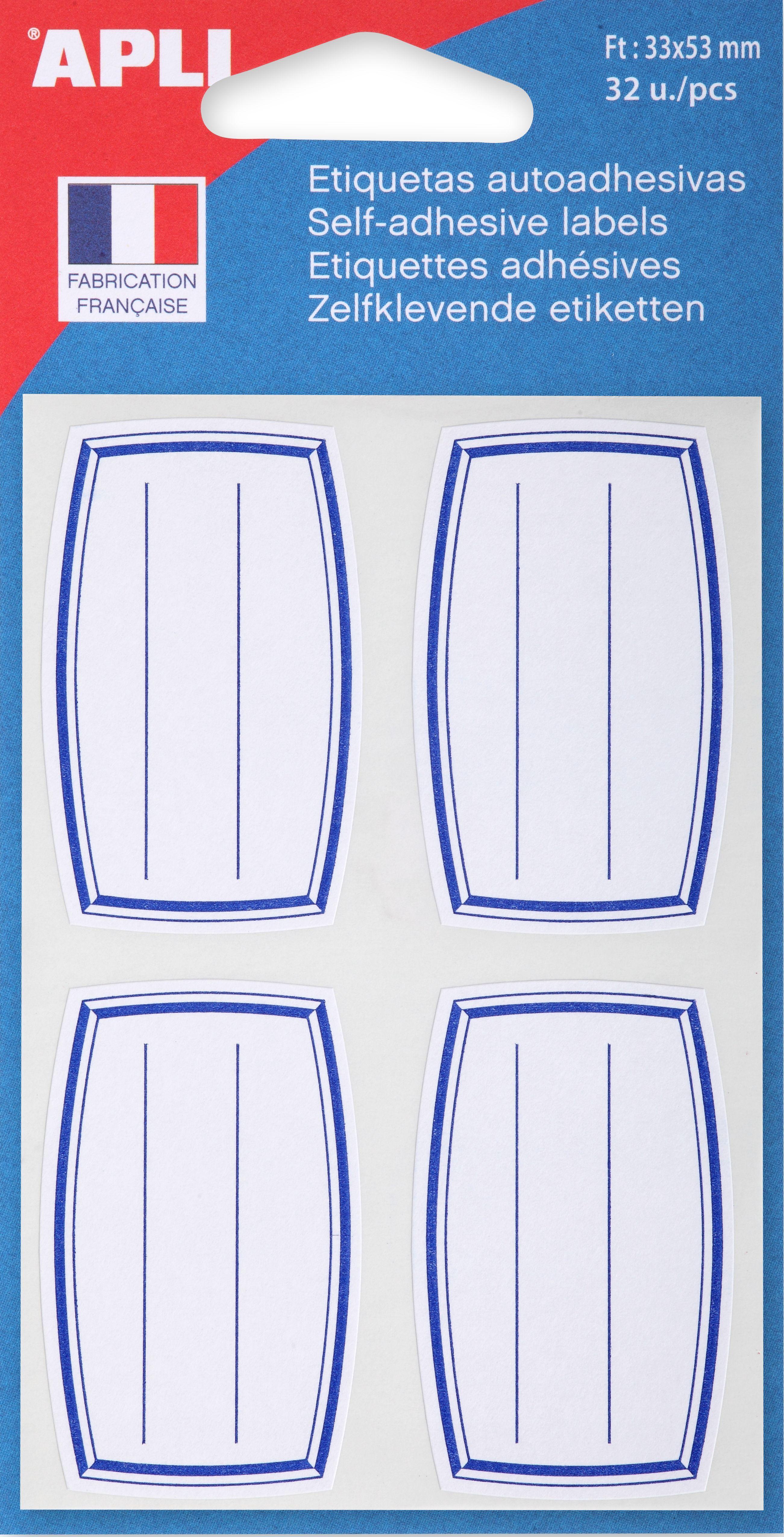 Apli - 32 Étiquettes scolaires cadre et lignes bleus - 33 x 53 mm - réf 111934