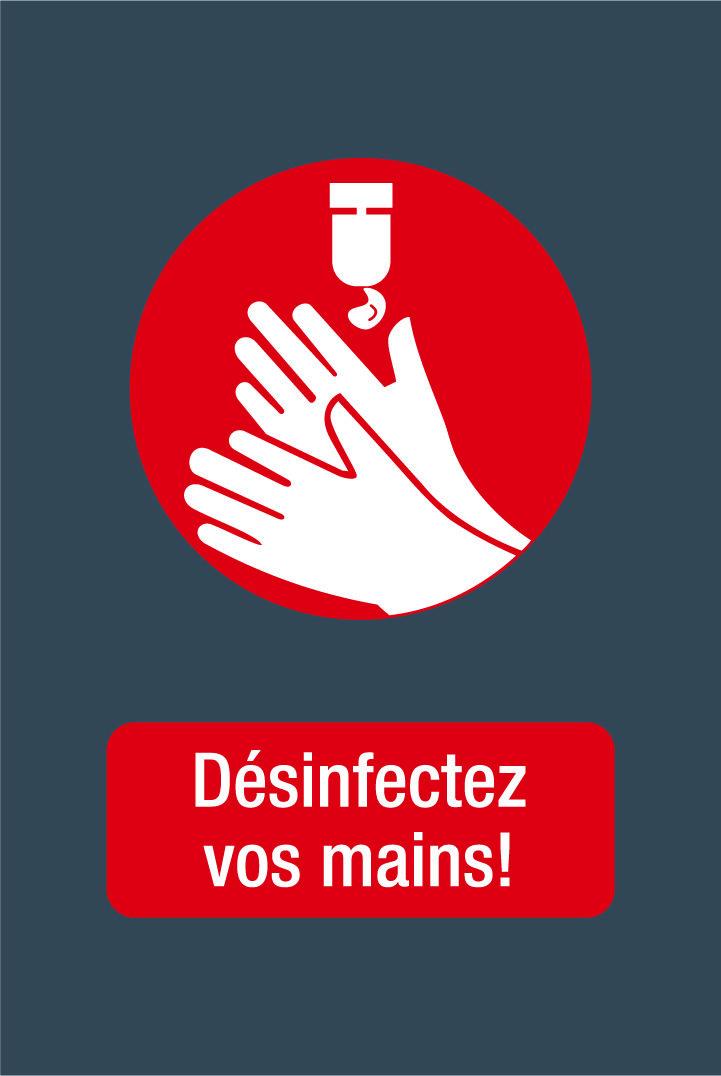 Novus Dahle -  Tapis de distanciation sociale - désinfection mains - 60 x 90 cm - gris rouge