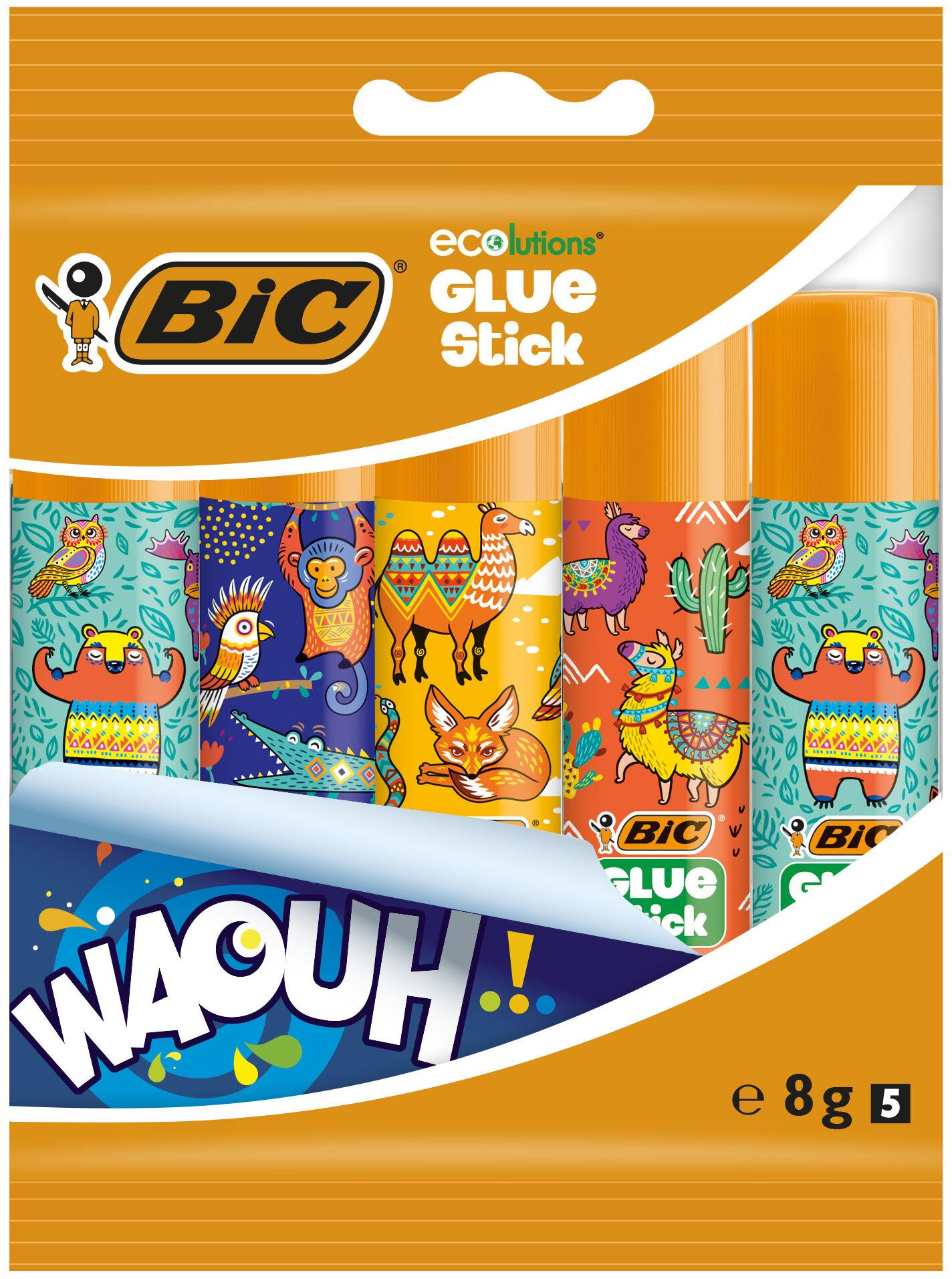 BIC - Lot de 5 Bâtons de colle décorés - 8 gr