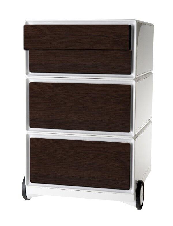 Caisson de bureau mobile EASYBOX - 2 tiroirs et 2 plumiers - Wengé
