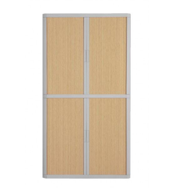 Armoire haute à rideaux EASY OFFICE - 110 x 204 x 41,5 cm - Corps et poignée gris - Rideaux imitation hêtre