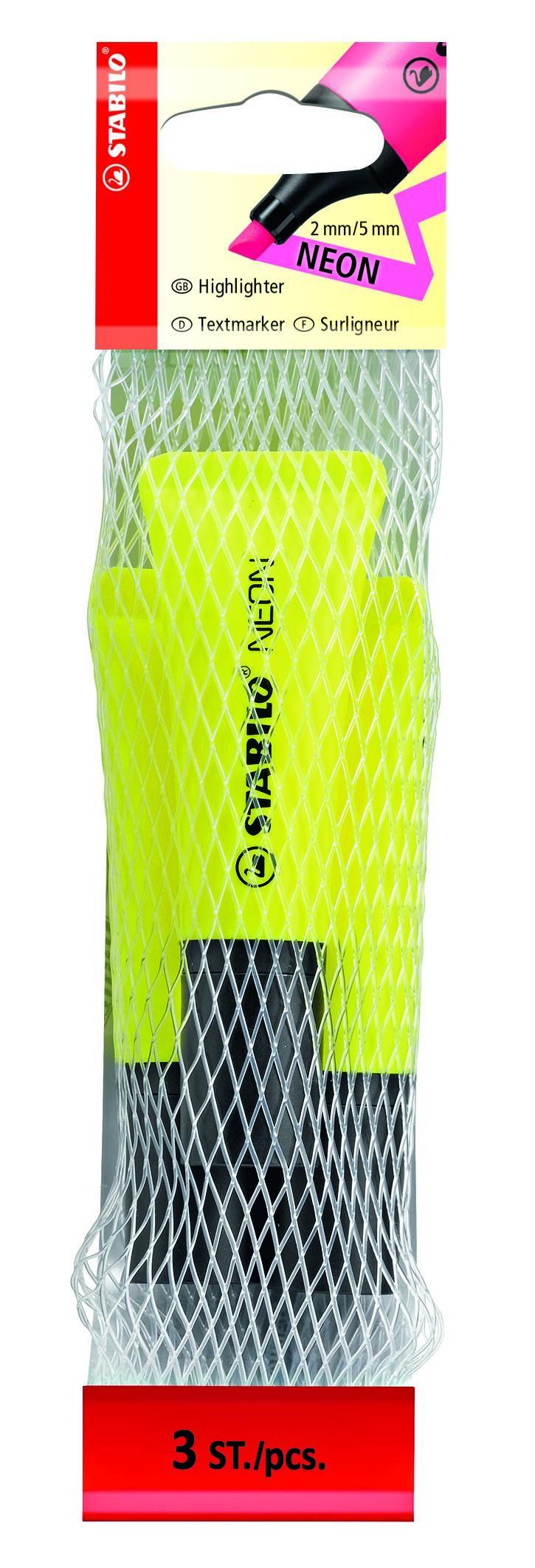 STABILO NEON - Filet 3 surligneurs - jaune