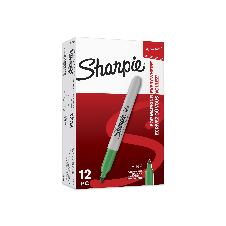 Sharpie - Pack de 12 - marqueurs permanents - pointe fine - vert