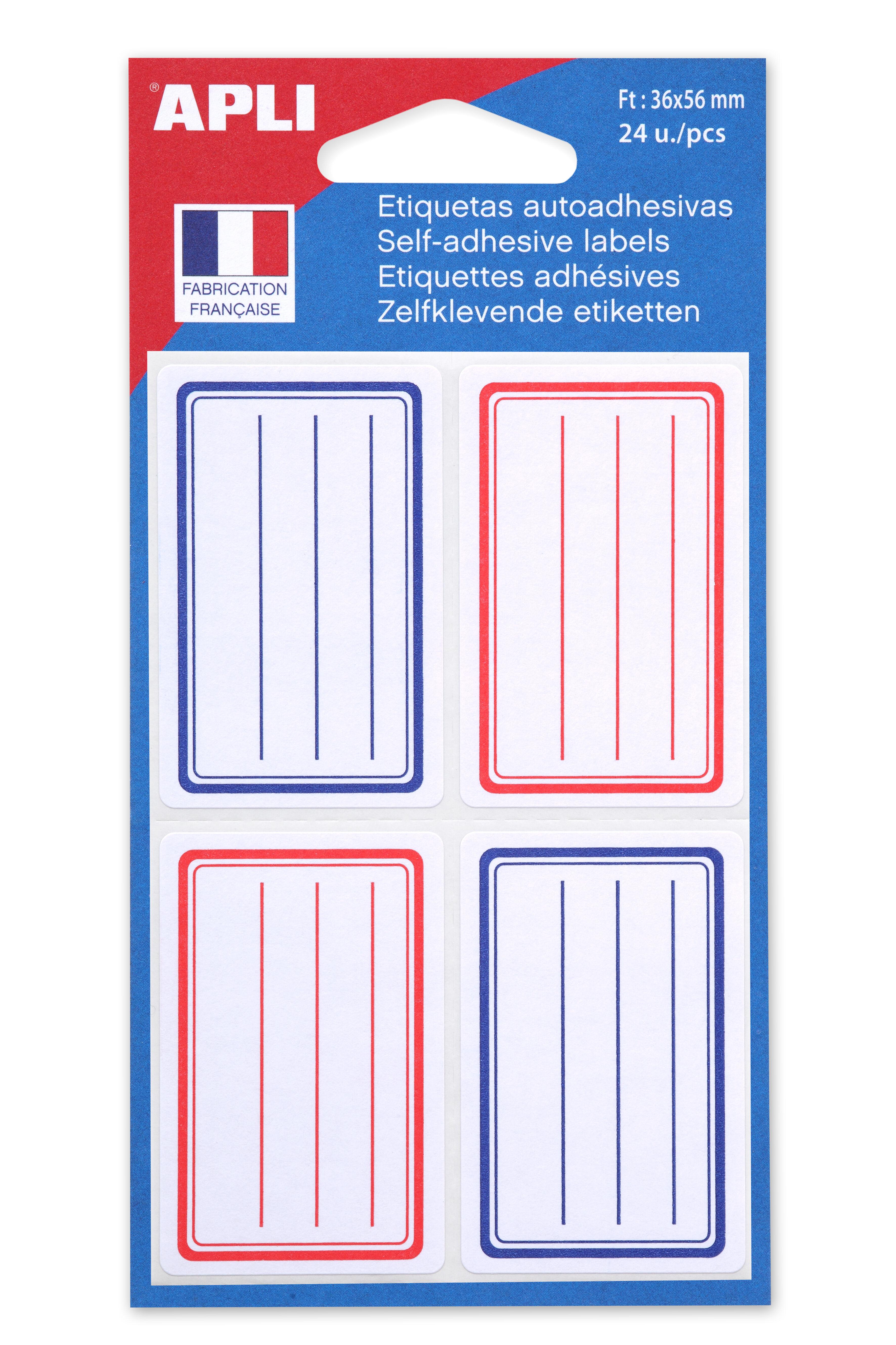Apli - 24 Étiquettes scolaires cadre et lignes bleus, rouges - 36 x 56 mm - réf 11278