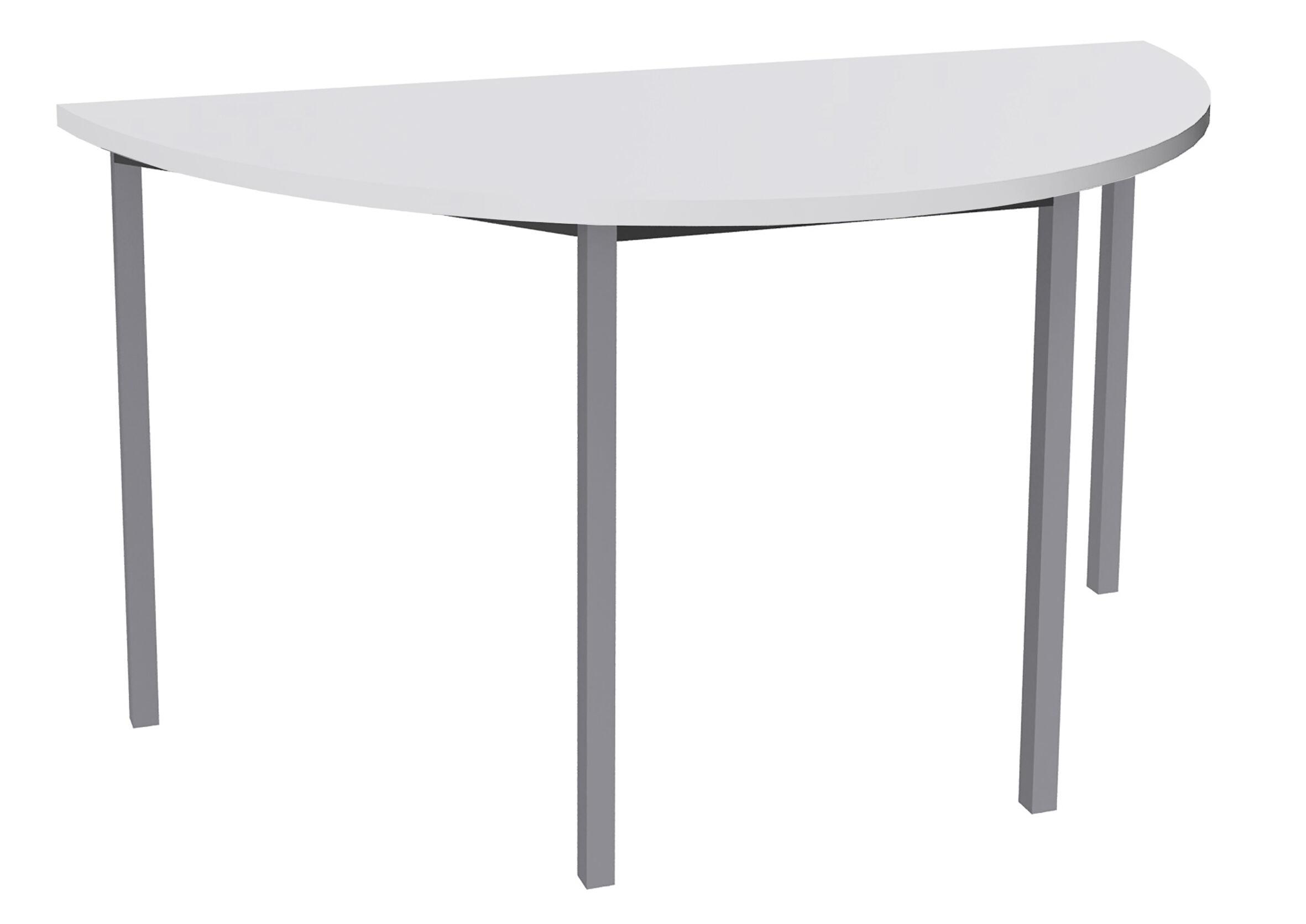 Table de réunion Demi-lune - 120 x 60 cm - Pieds aluminium - Blanc perle