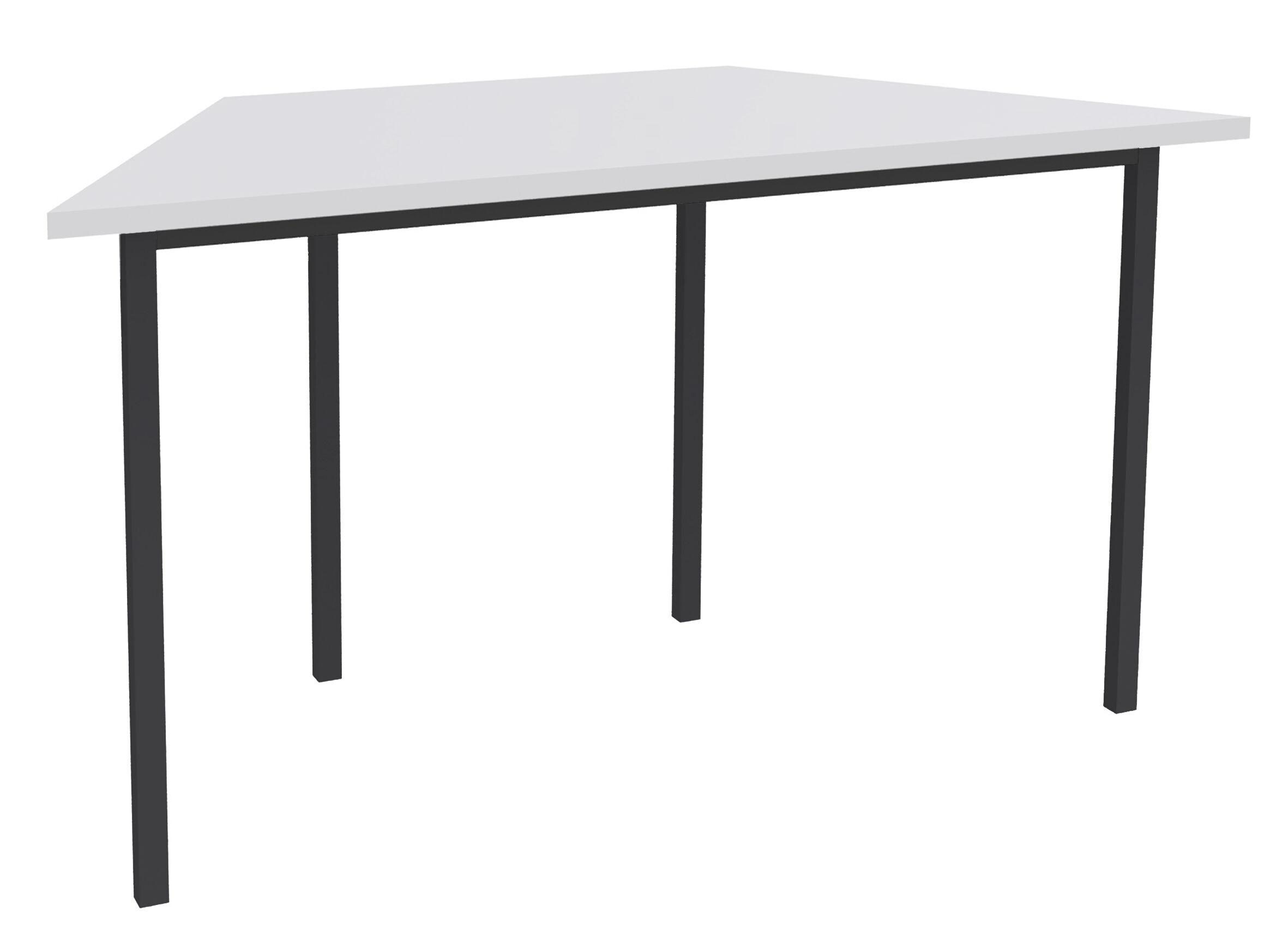 Table de réunion Trapèze - 120 x 60 cm - Pieds anthracite - Blanc perle