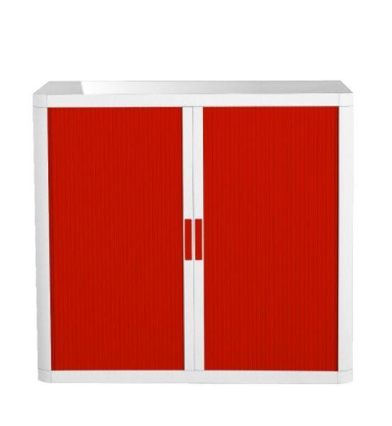 Armoire basse à rideaux EASY OFFICE - 110 x 104 x 41,5 cm - Corps blanc - Rideaux et poignée rouge