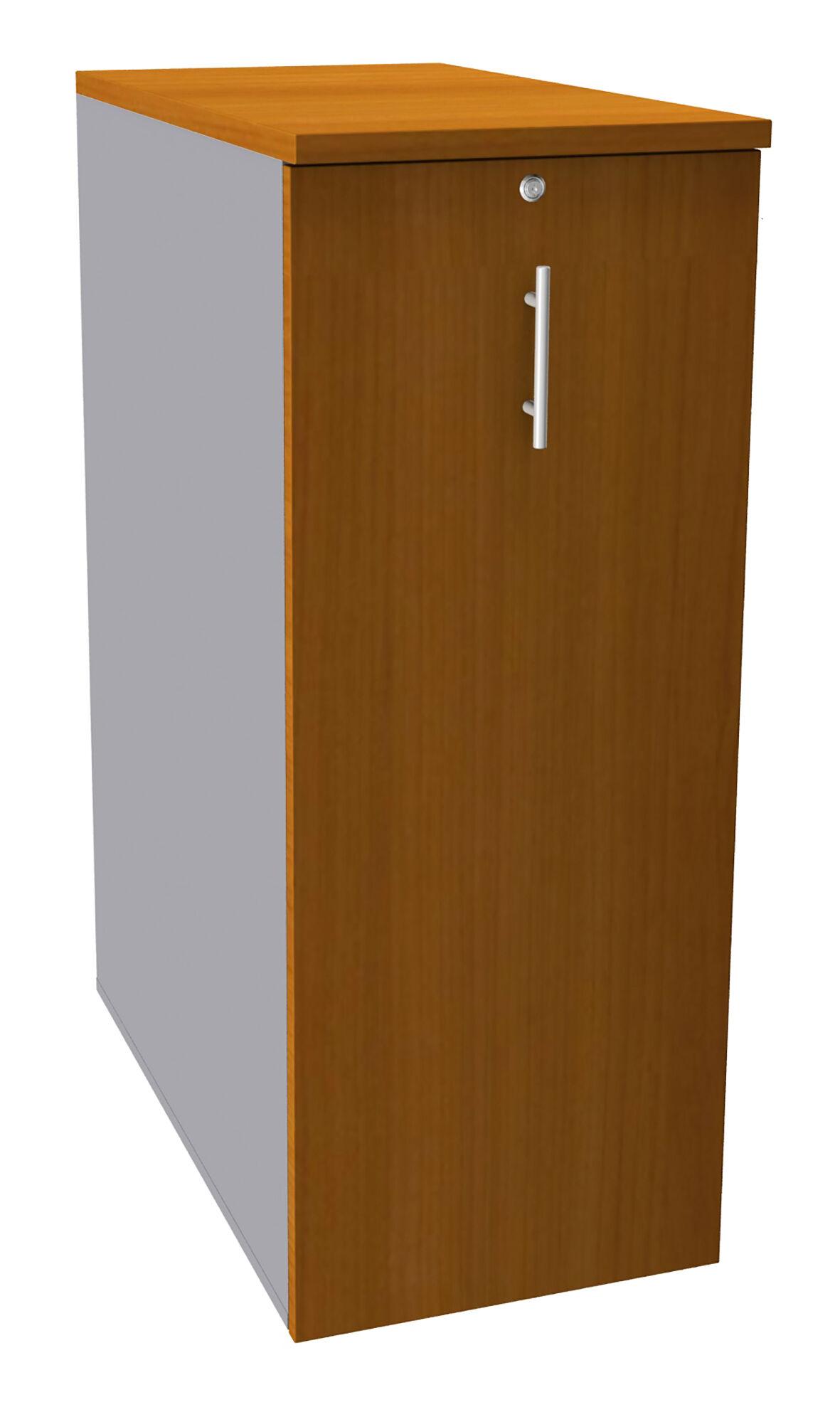 Caisson TOWER - L44 x H114 x P80 cm - 3 tablettes + 1 support DS réglable - structure alu - dessus et façade imitation merisier