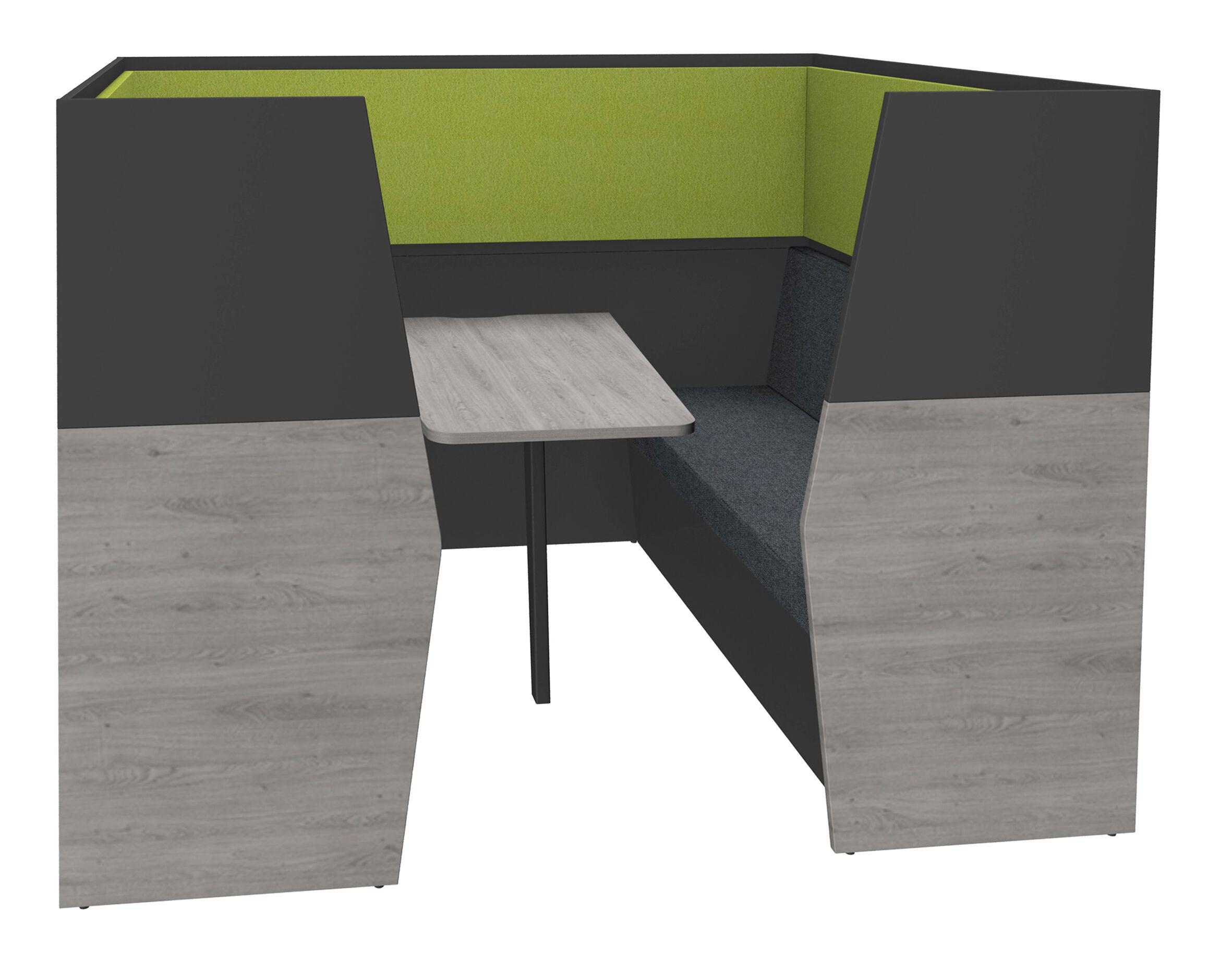 Box acoustique IN'TEAM - L210 x H 150 x P170 cm - 6 places avec table - structure chêne gris et carbone - panneaux vert chartreux