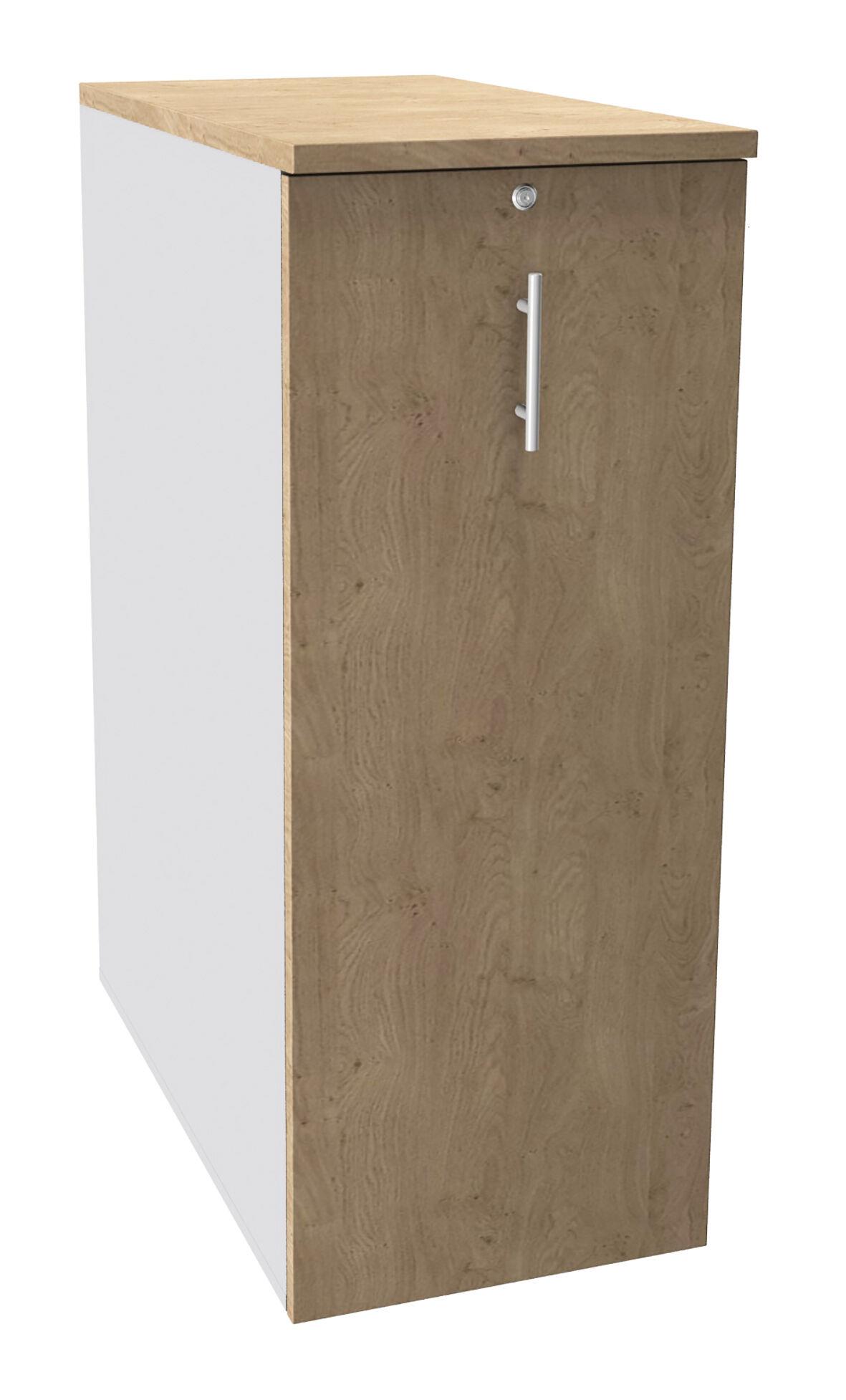 Caisson TOWER - L44 x H114 x P80 cm - 3 tablettes + 1 support DS réglable - structure blanc perle - dessus et façade imitation chêne clair