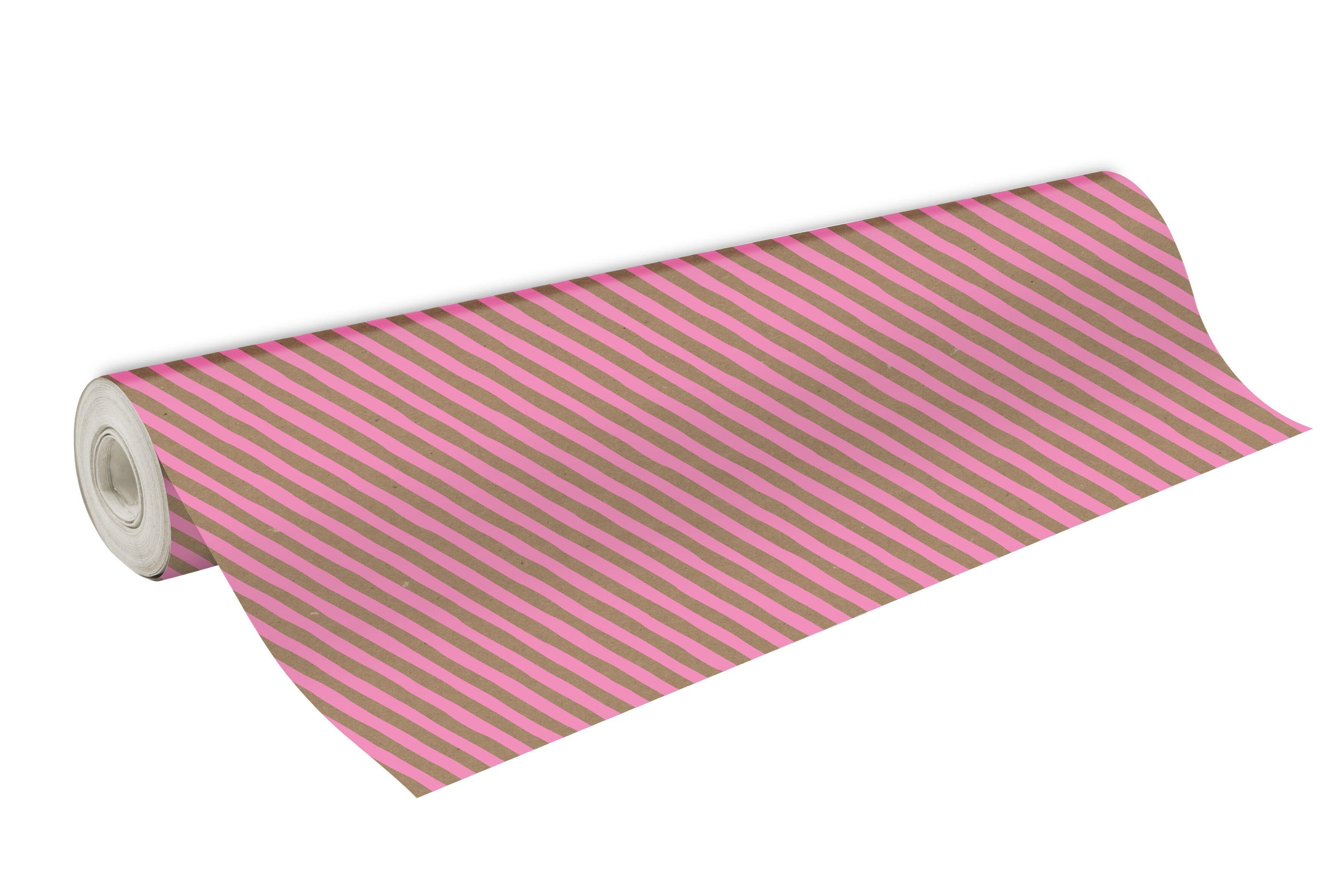 Clairefontaine - Papier cadeau kraft - 70 cm x 50 m - 70 g/m² - motif rayures roses