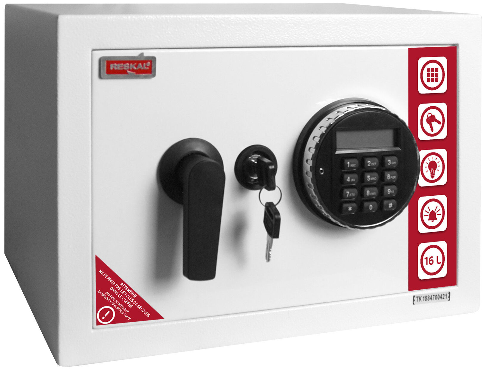 Reskal SE 2 Premium - Coffre-fort 16,5L à code - acier blanc
