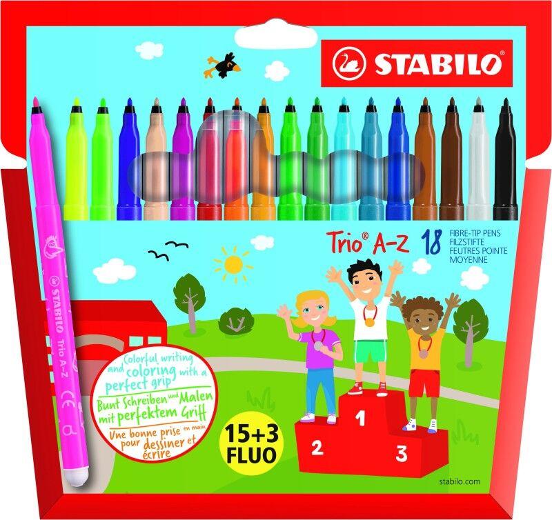 STABILO Trio A-Z - 18 feutres- pointe moyenne - dont 3 fluo