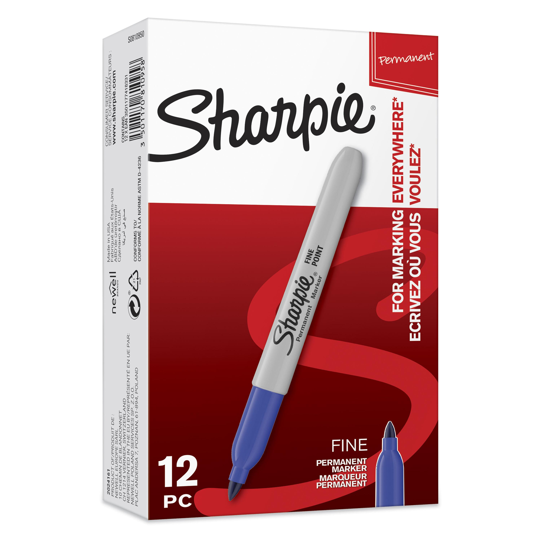 Sharpie - Pack de 12 - marqueurs permanents - pointe fine - bleu