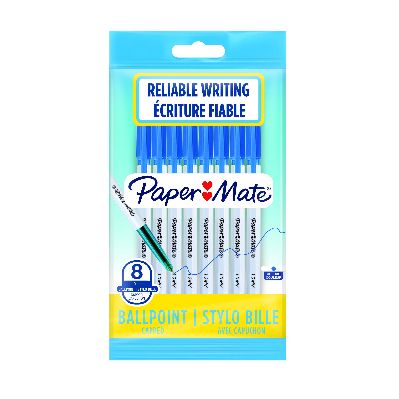 Paper Mate - Pack de 8 - stylos à bille 045 - bleu