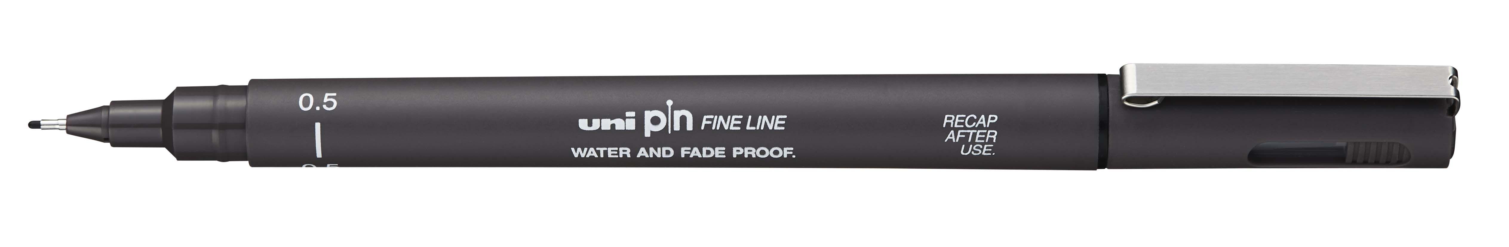 UNI PIN - Feutre fin - pointe calibrée - 0,5 mm - gris foncé