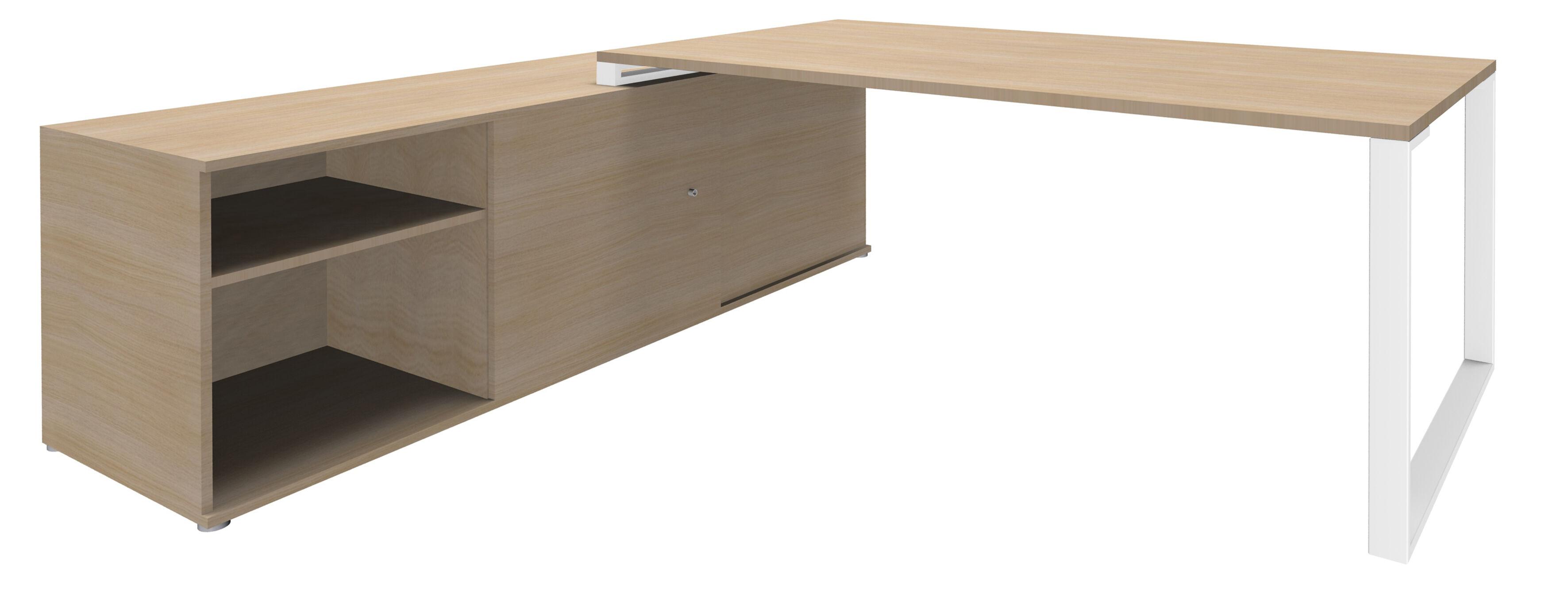 Bureau URBAN Manager - L180 x P100 x H72,5 cm - console retour à gauche (cases) L200 x P60 cm - pieds blanc - plateau imitation chêne clair