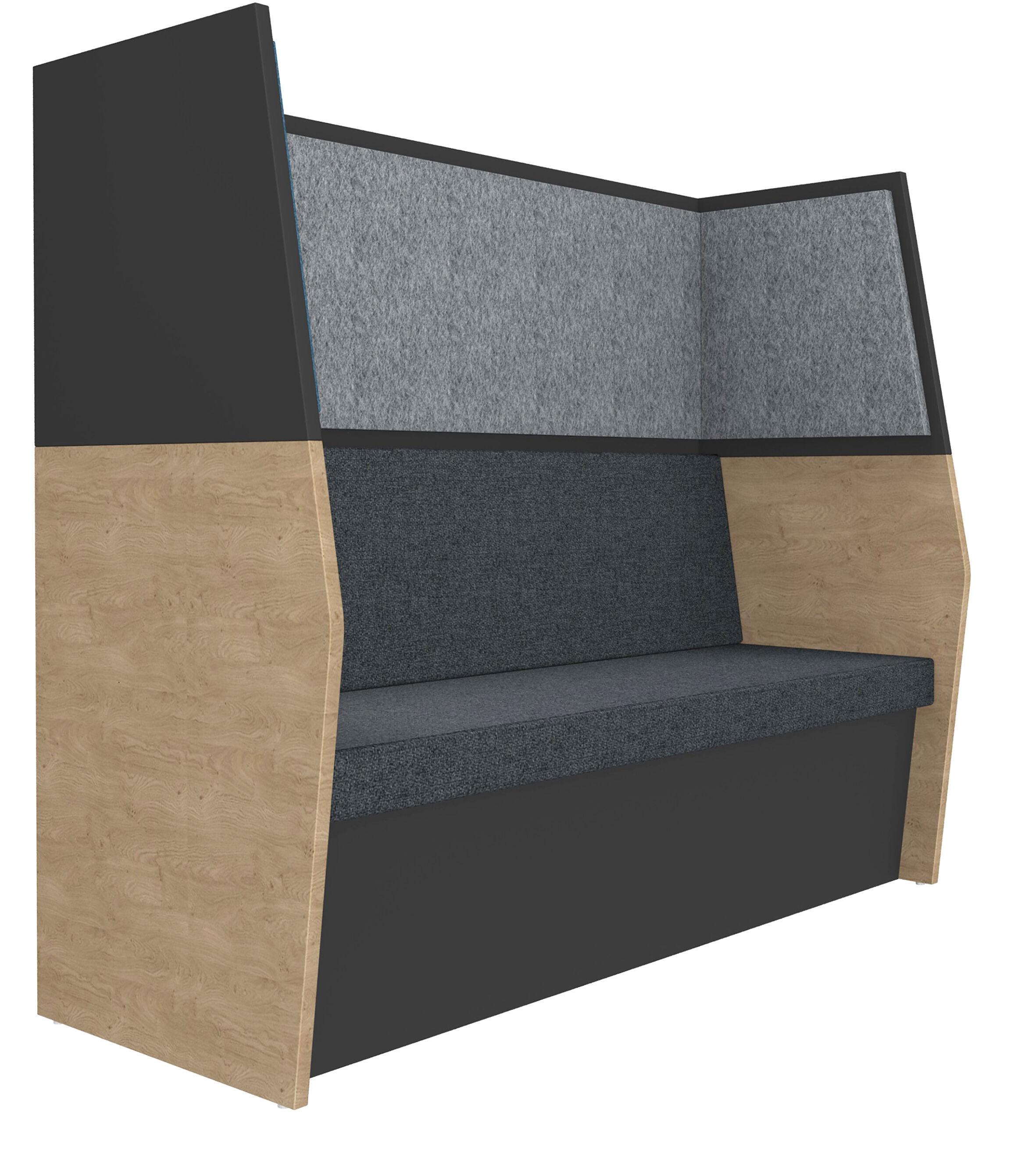 Banquette acoustique IN'TEAM - L170 x H 150 x P170 cm - 3 places - structure chêne clair et carbone - panneaux gris chiné