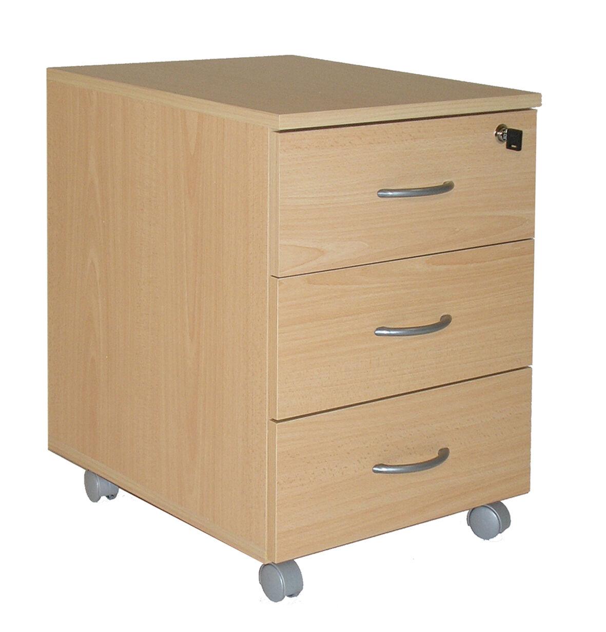 Caisson mobile WINCH 3 tiroirs dont 1 pour dossiers suspendus - Imitation Hêtre