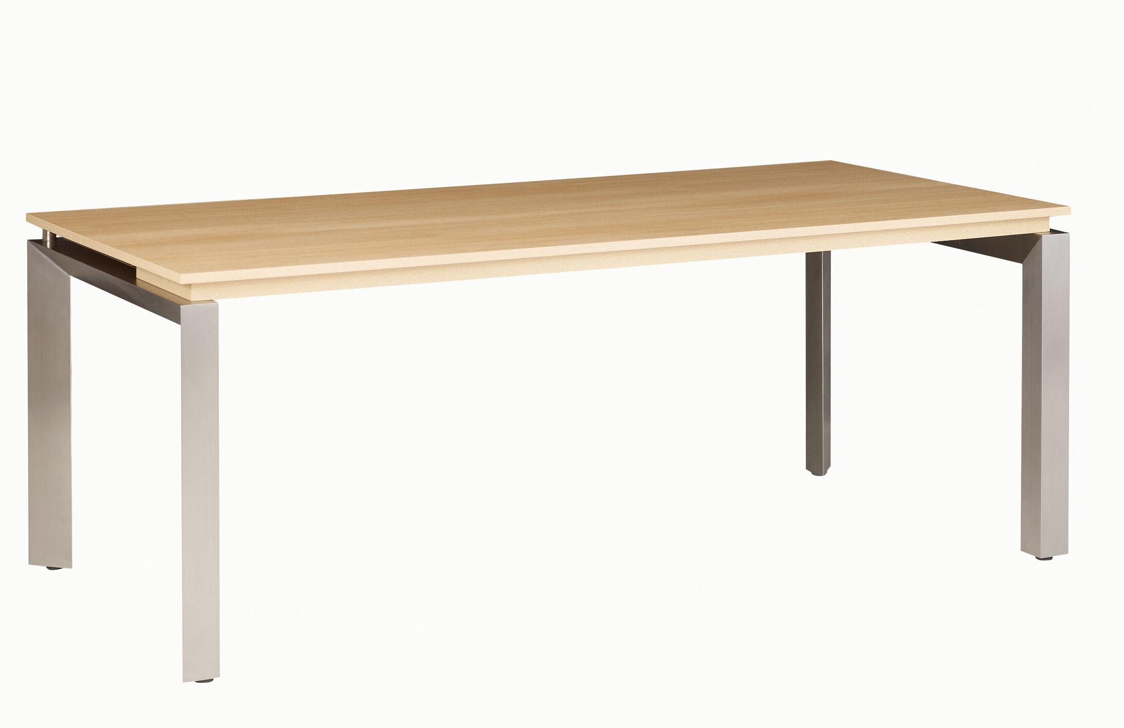 Bureau bois SLIVER - 190 cm - Pieds métal - Chêne fil et blanc