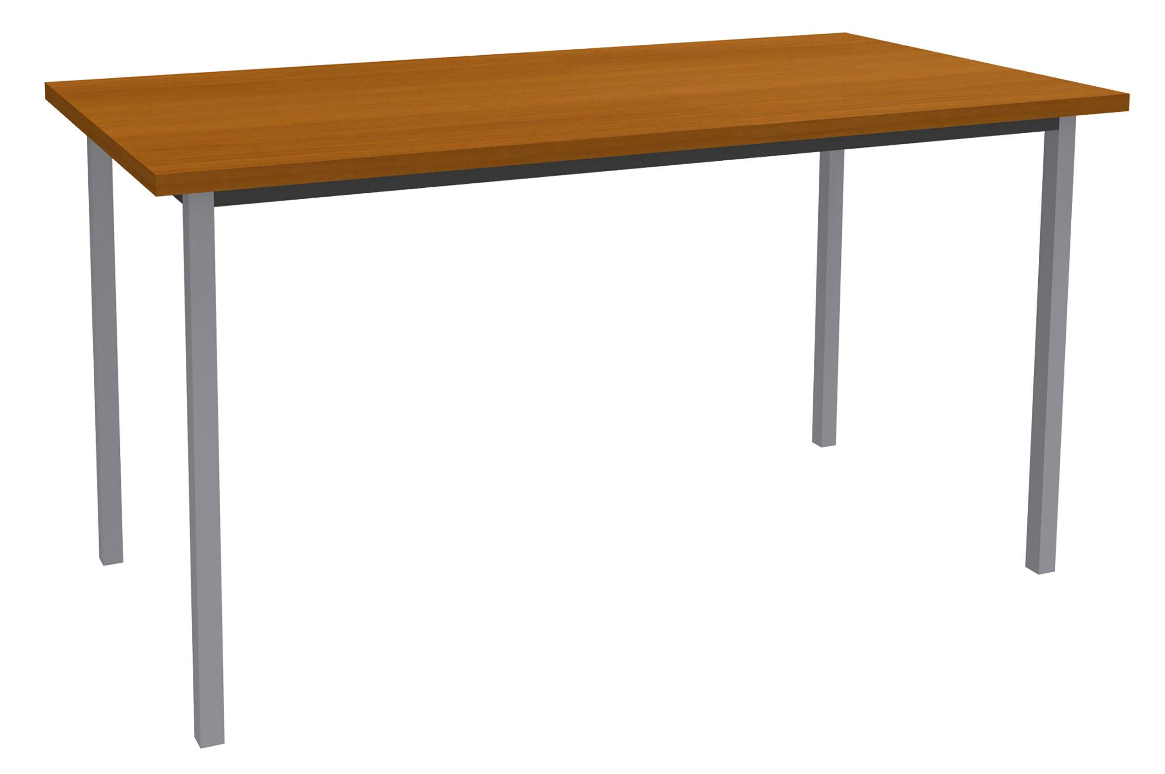 Table de réunion Rectangulaire - 120 x 60 cm - Pieds aluminium - imitation merisier