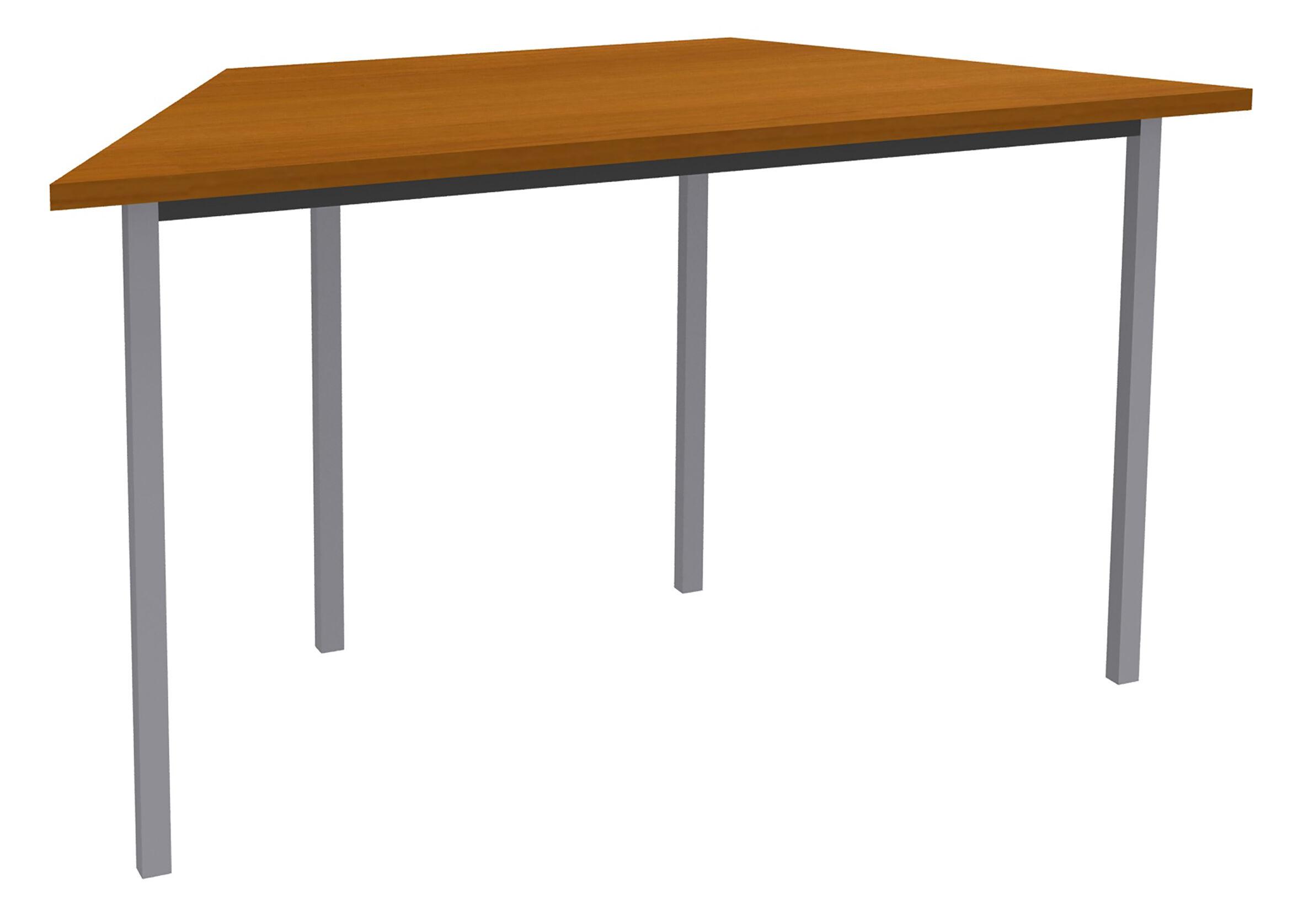Table de réunion Trapèze - 120 x 60 cm - Pieds aluminium - imitation Merisier