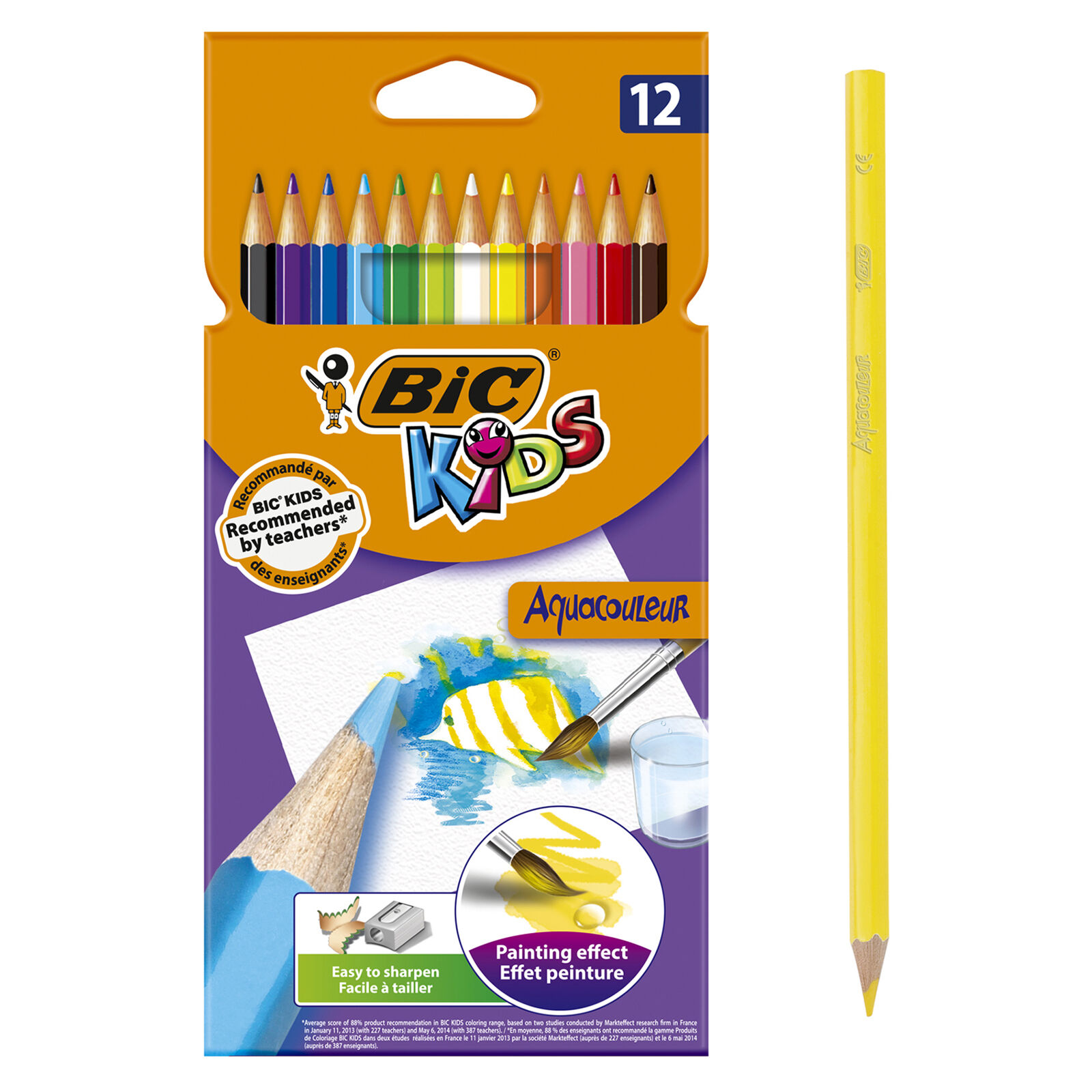 BIC Kids Aquacouleur - 12 Crayons de couleur