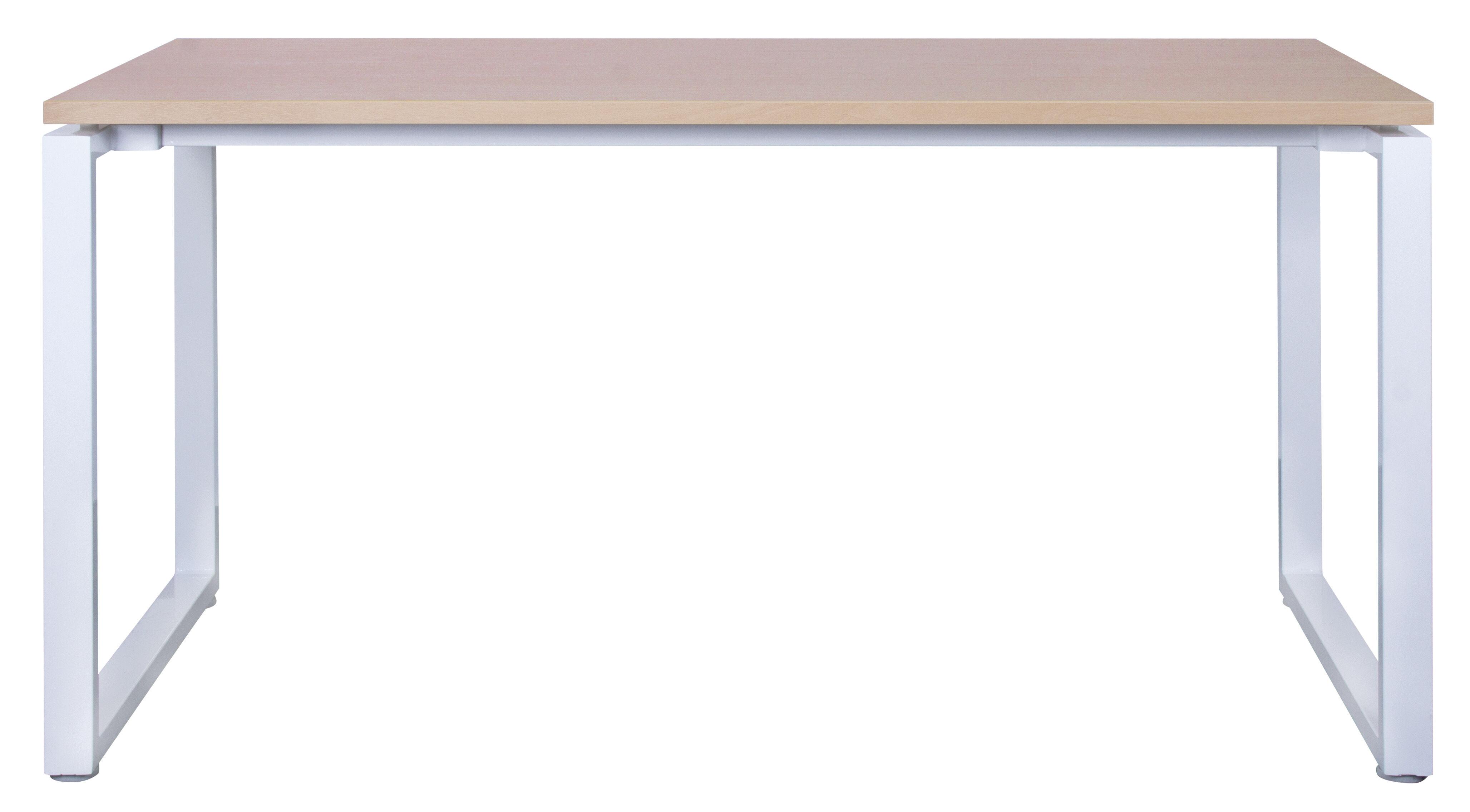 Bureau droit MT1 Elégance - L140 x P67 x H75 cm - pieds blancs - plateau imitation hêtre