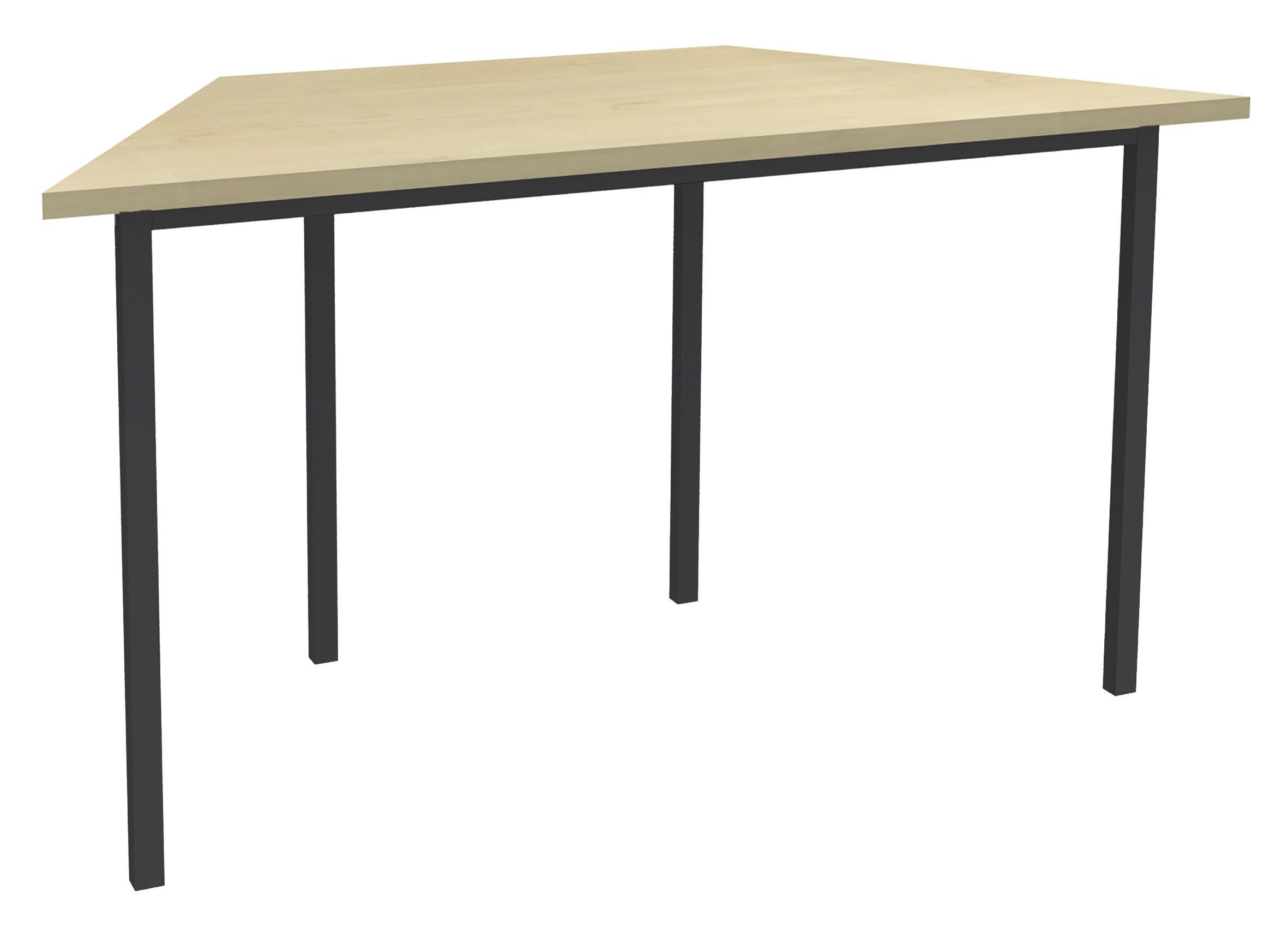 Table de réunion Trapèze - 120 x 60 cm - Pieds anthracite - imitation Erable
