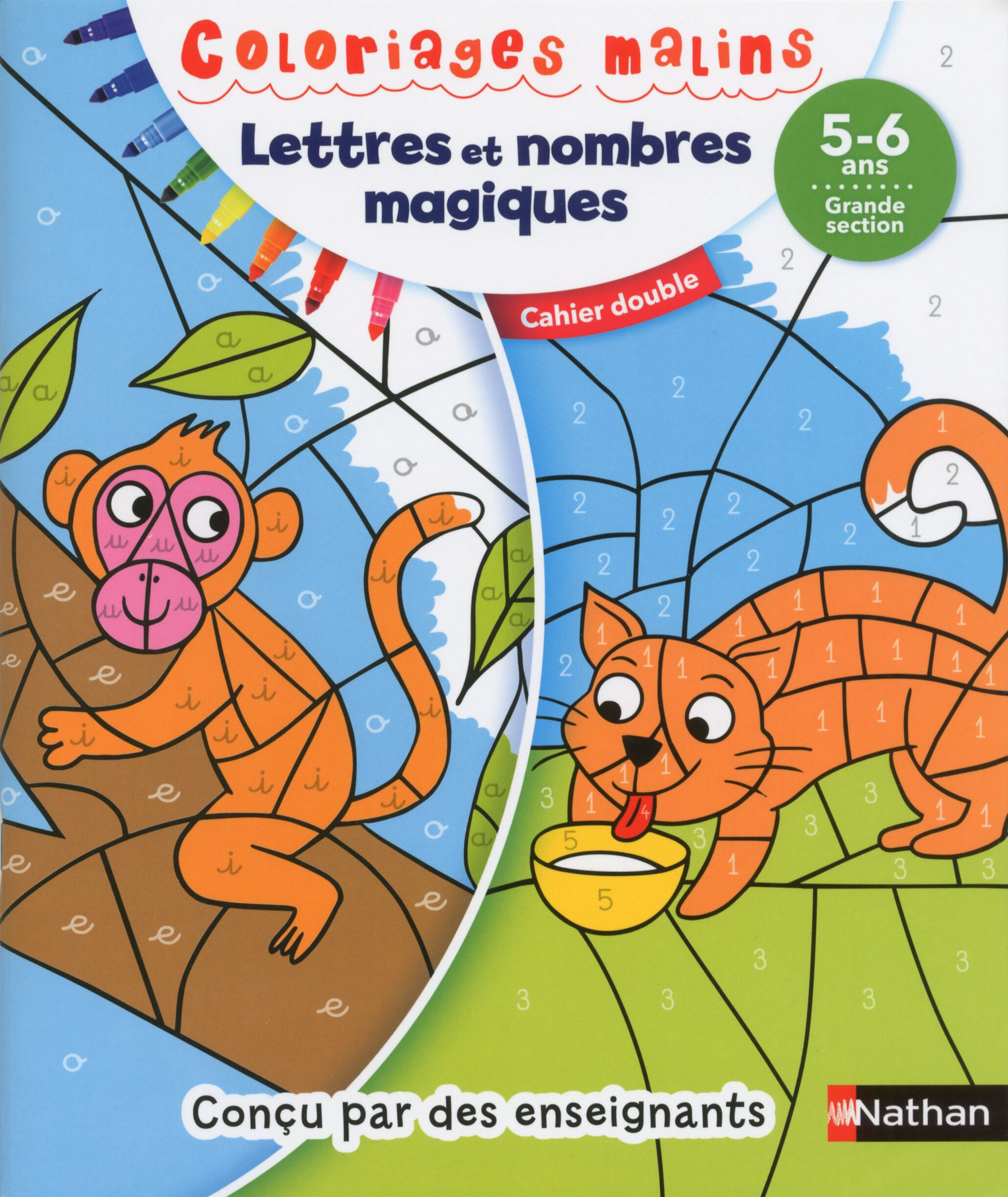 Coloriages malins duo lettres et nombres magiques GS