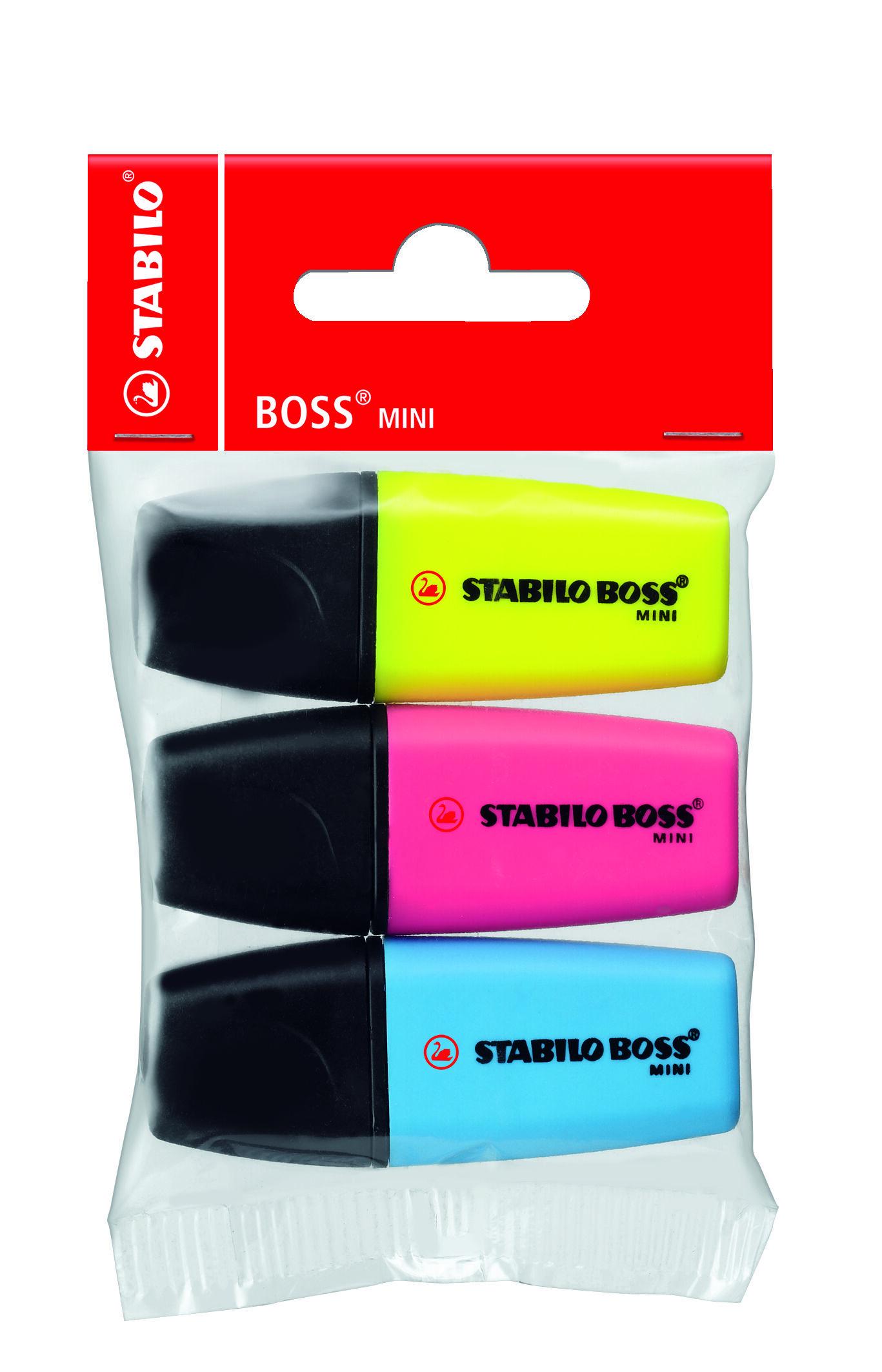 STABILO BOSS MINI - Pack de 3 surligneurs - rose, jaune, bleu
