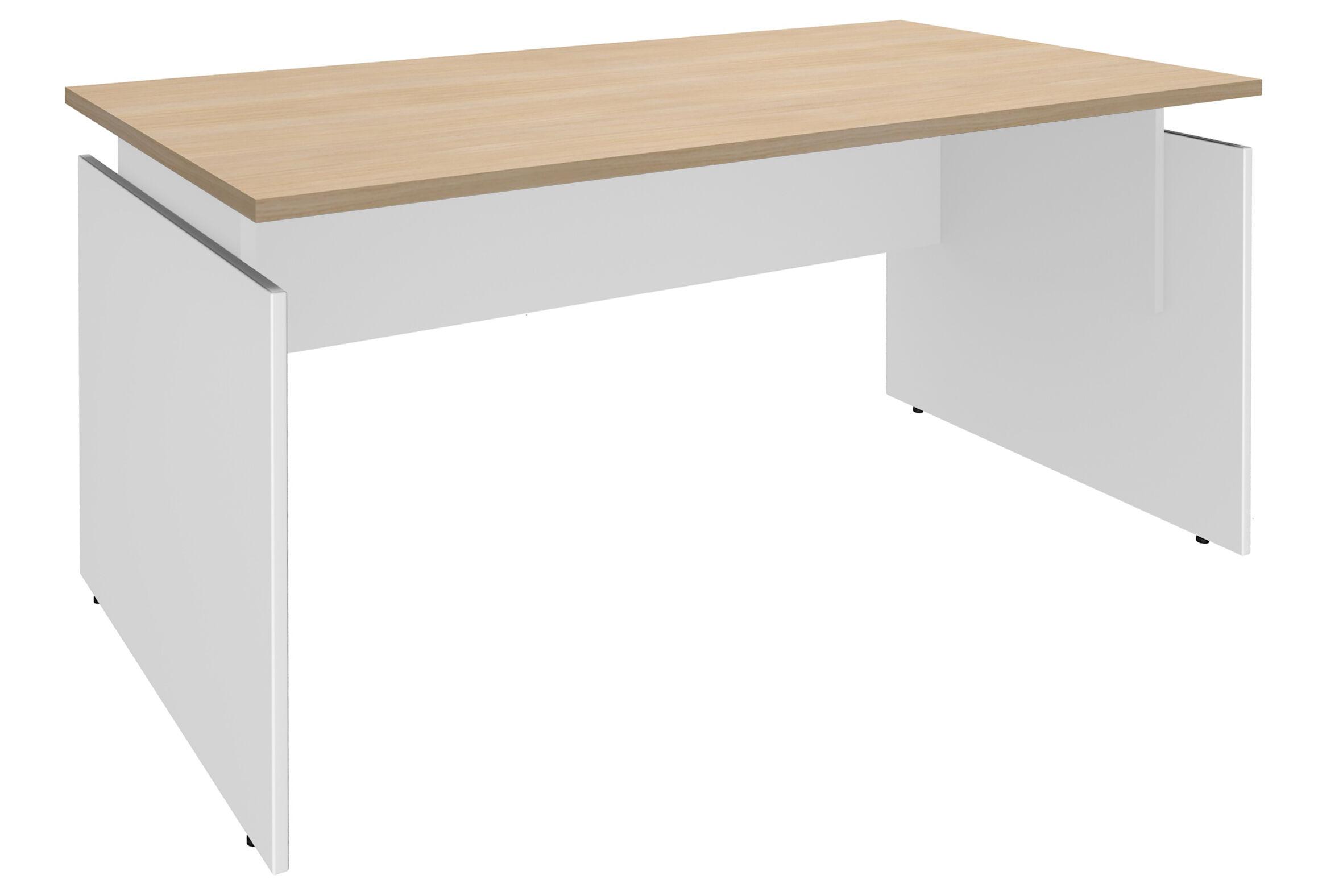 Bureau INEO - Réglable en hauteur - L120 x H74/78/82 x P80 cm - Pieds blanc - plateau imitation chêne clair - Entretoise Blanc